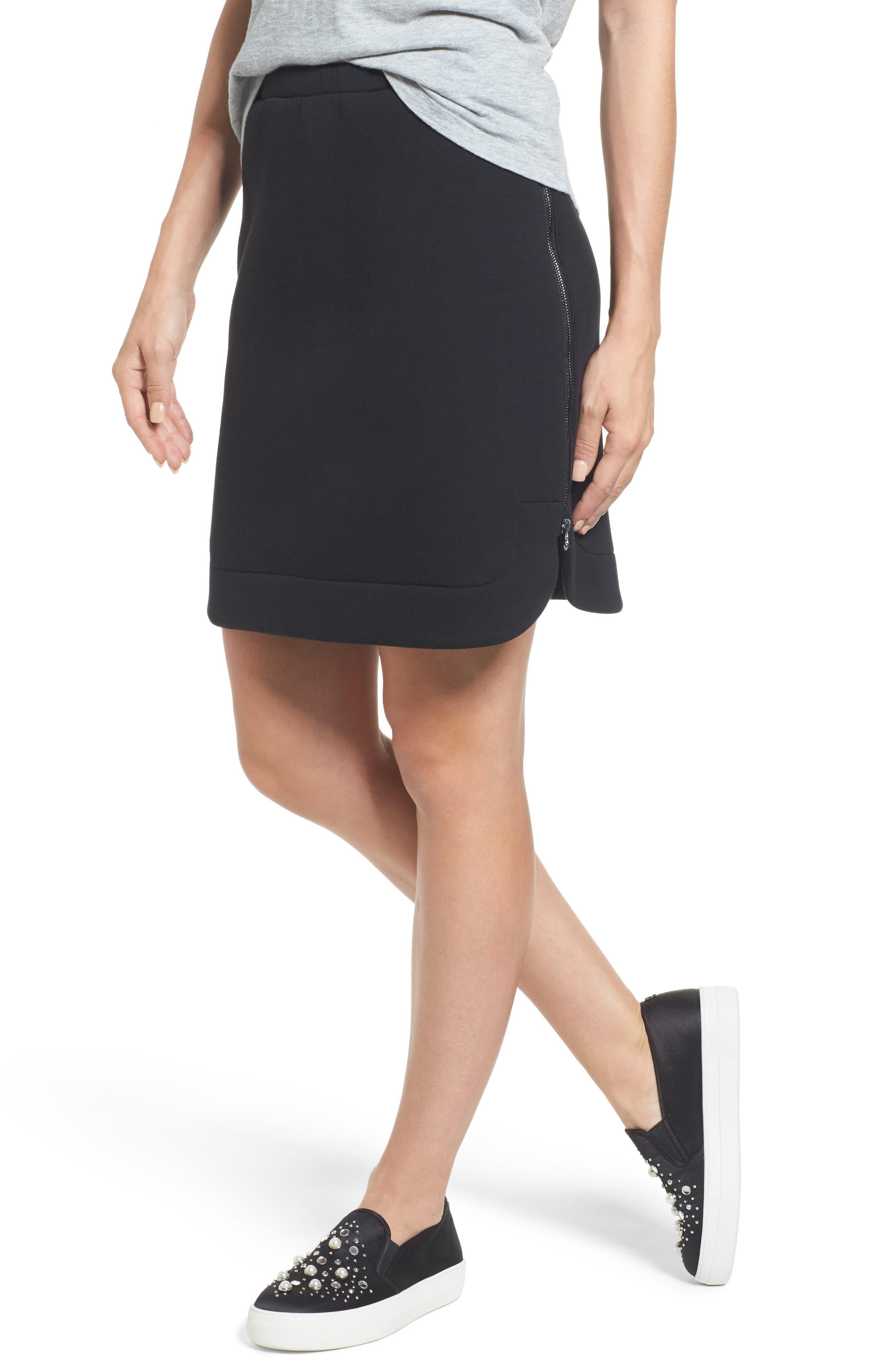 Side Zip Neoprene Skirt,                             Main thumbnail 1, color,                             Black