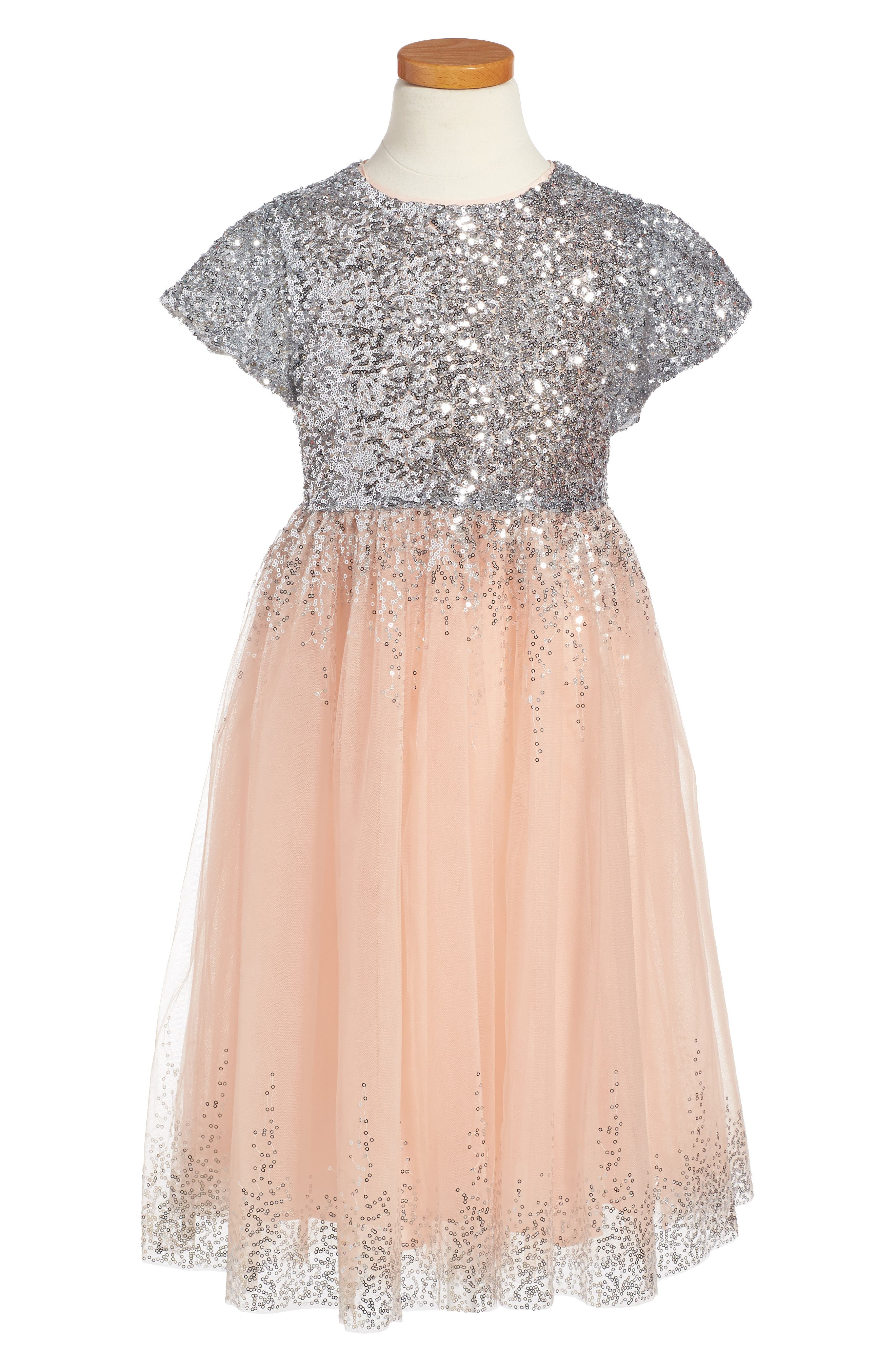 Wild and Gorgeous Sequin Moon Party Dress,                         Main,                         color, Shell Pink