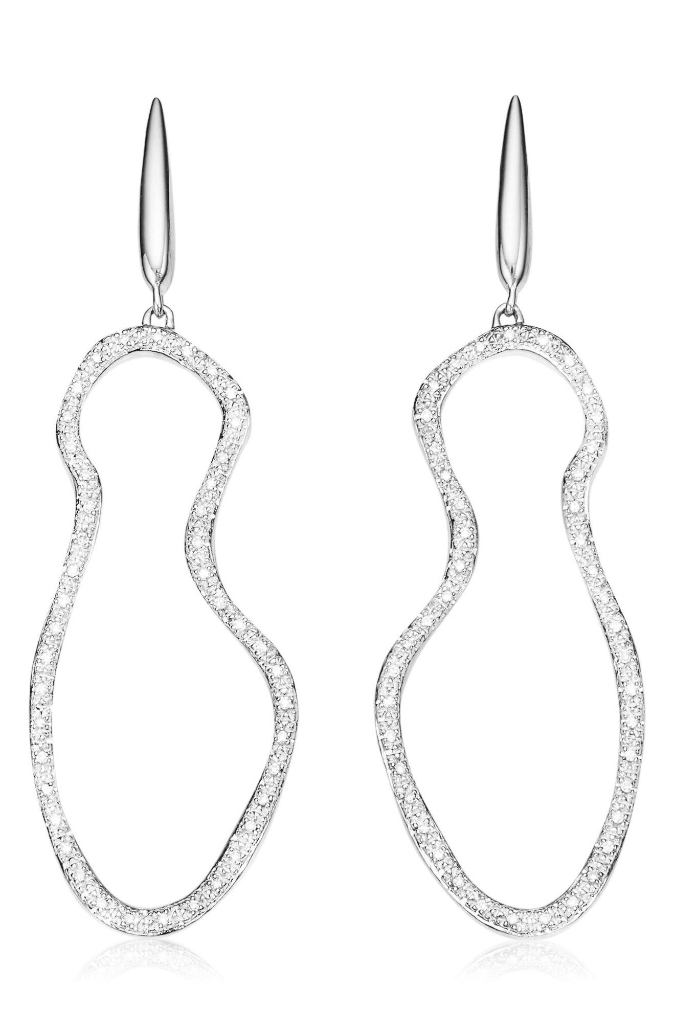 Riva Pod Diamond Cocktail Earrings,                         Main,                         color, Silver