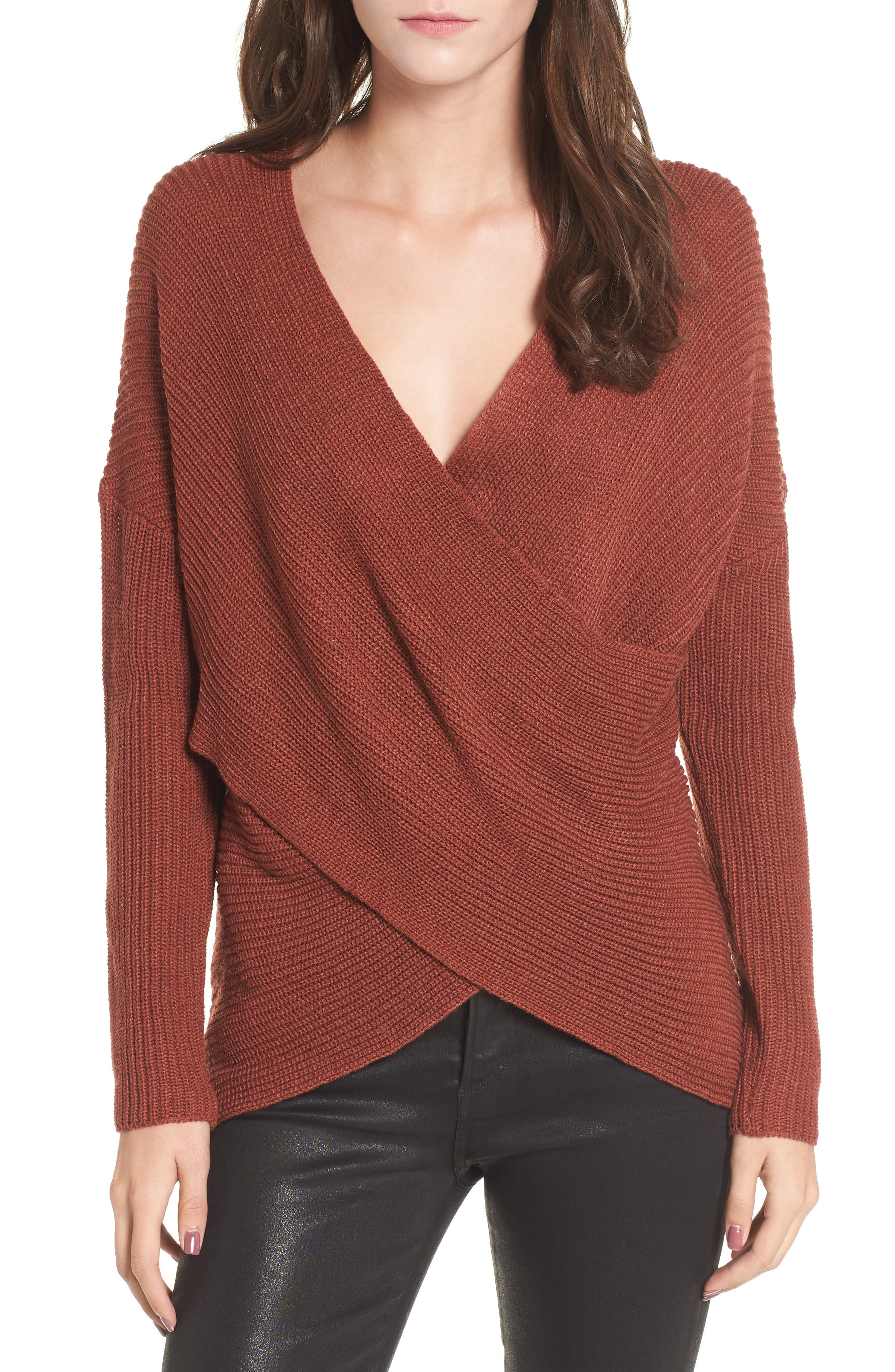 Wrap Front Sweater,                             Main thumbnail 1, color,                             Brown Spice
