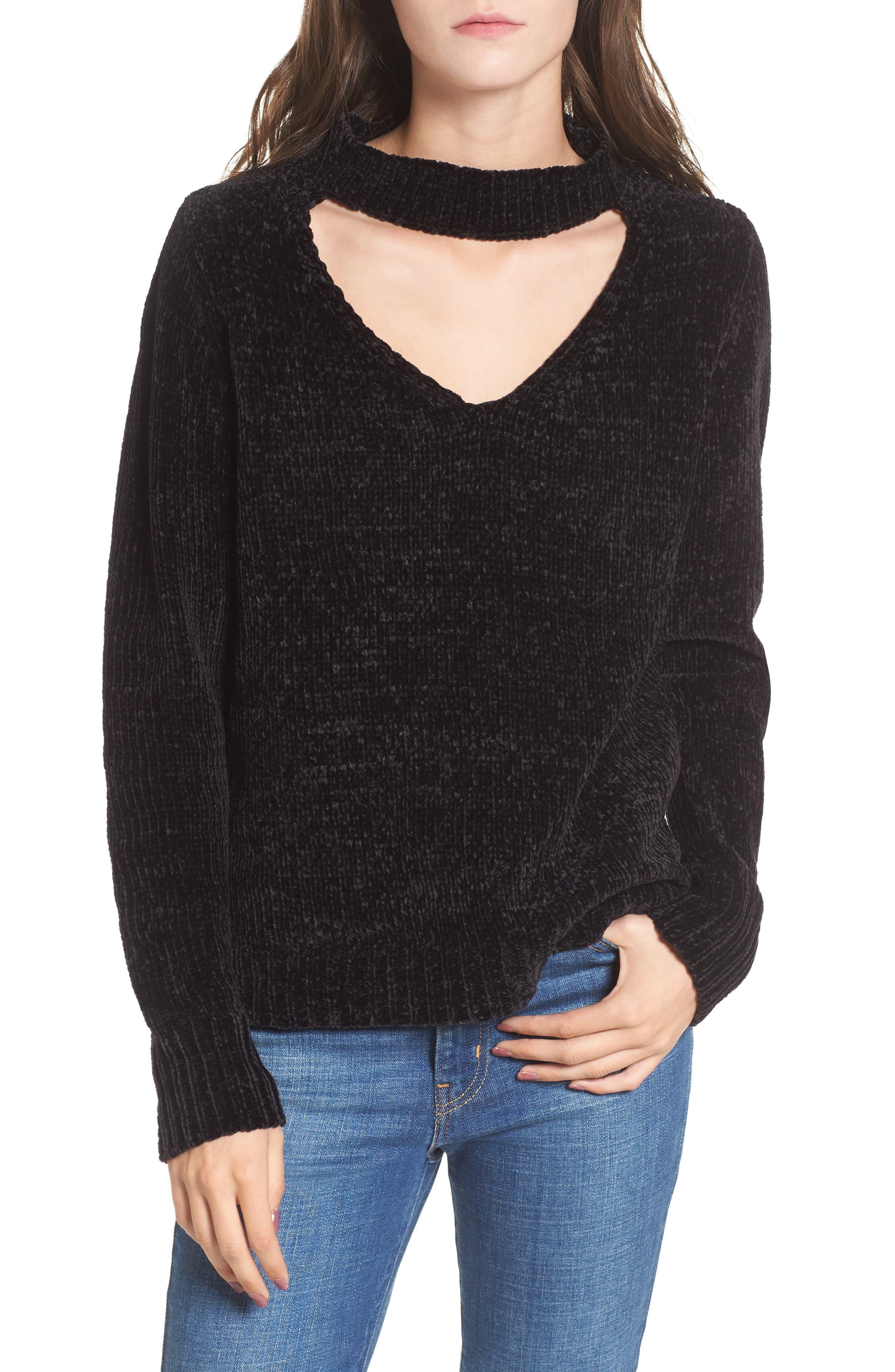 Chenille Choker Neck Sweater,                         Main,                         color, Black