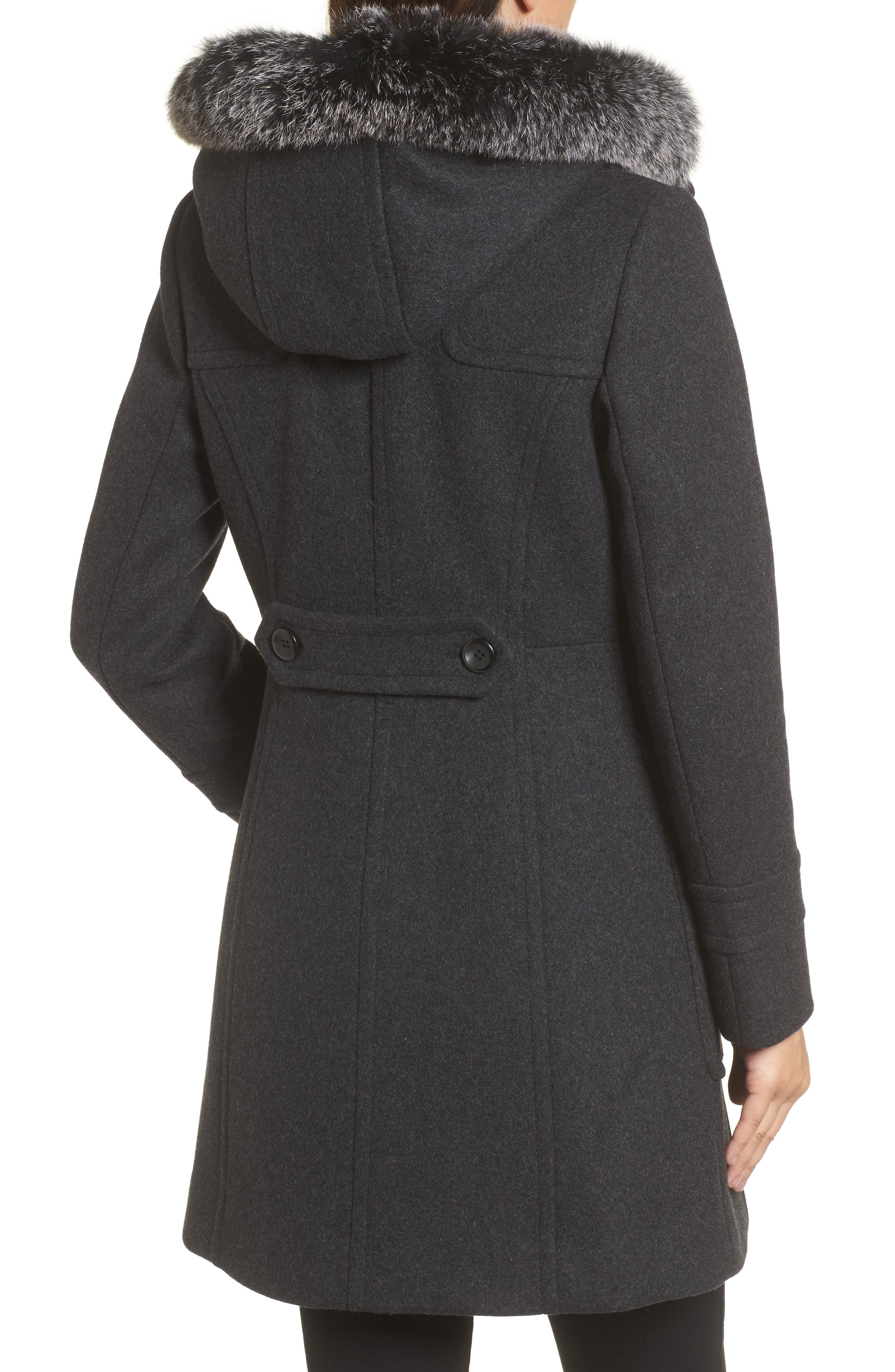 Alternate Image 2  - Trina Turk Connie Duffle Coat with Genuine Fox Fur