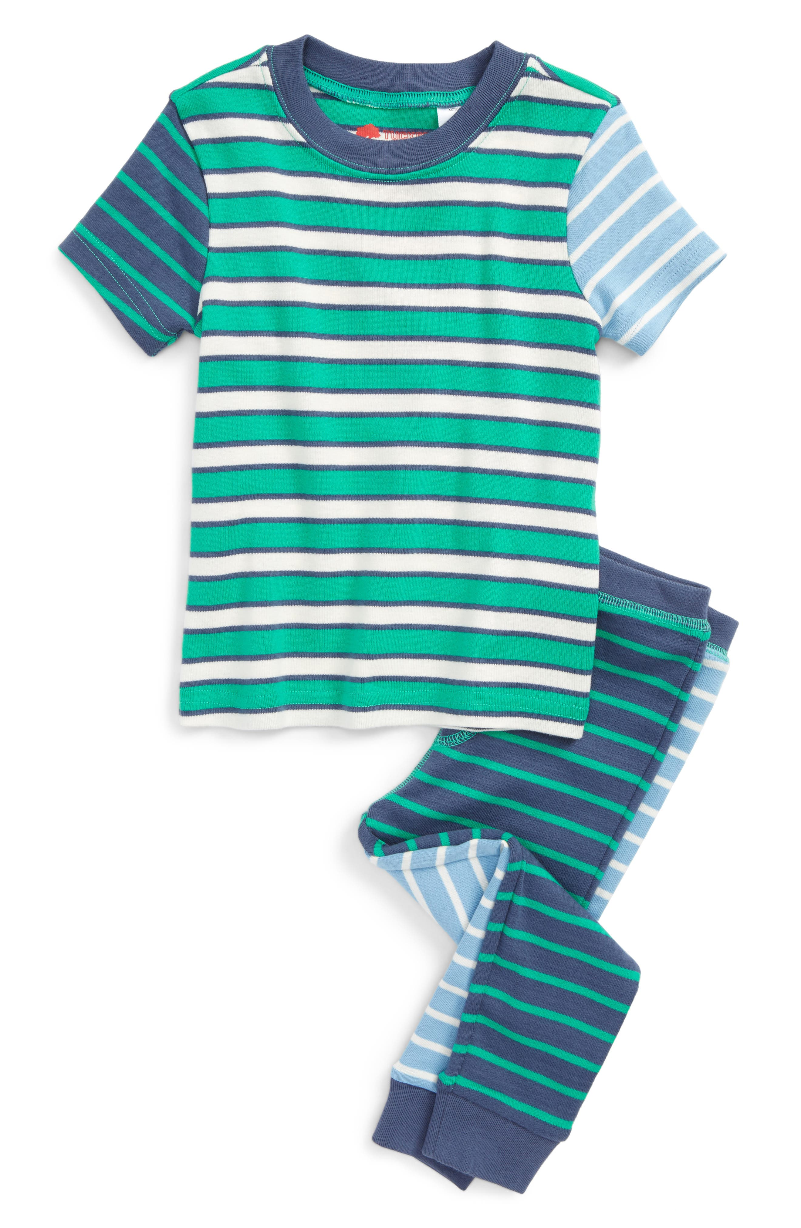 Fitted Two-Piece Pajamas,                         Main,                         color, Green Blarney Multi Stripe