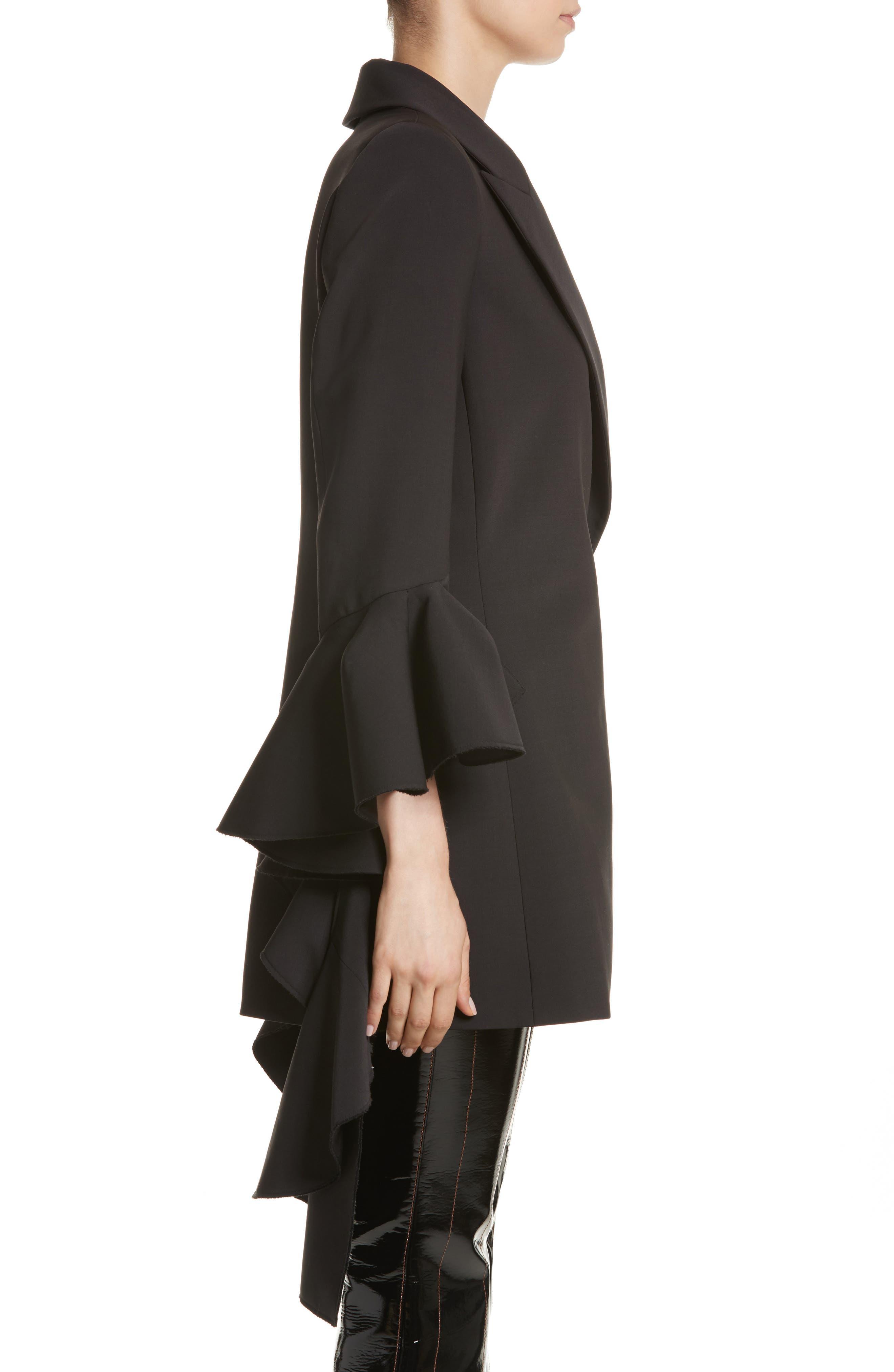Forsaken Frill Sleeve Jacket,                             Alternate thumbnail 3, color,                             Black