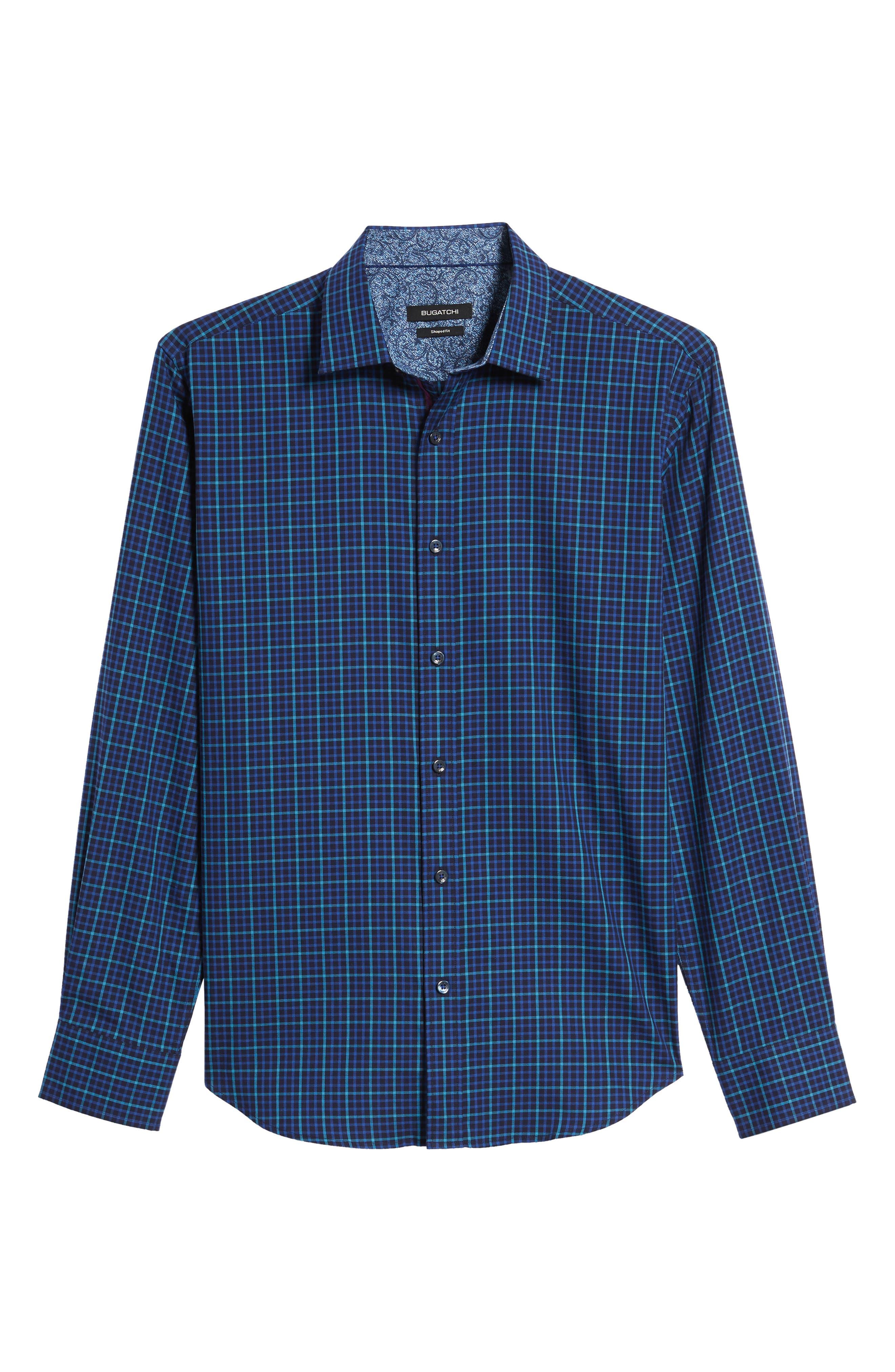 Trim Fit Box Check Sport Shirt,                             Alternate thumbnail 6, color,                             Midnight
