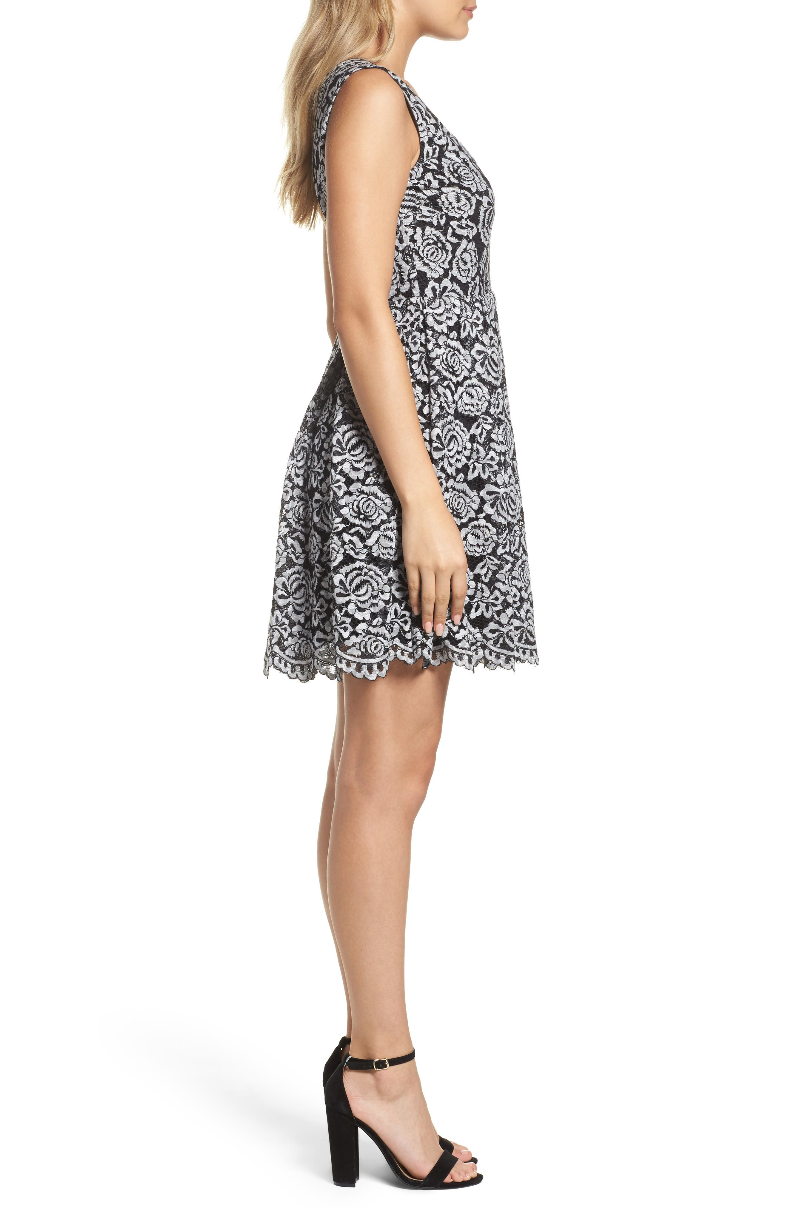 Lace Fit & Flare Dress,                             Alternate thumbnail 3, color,                             Black/ White