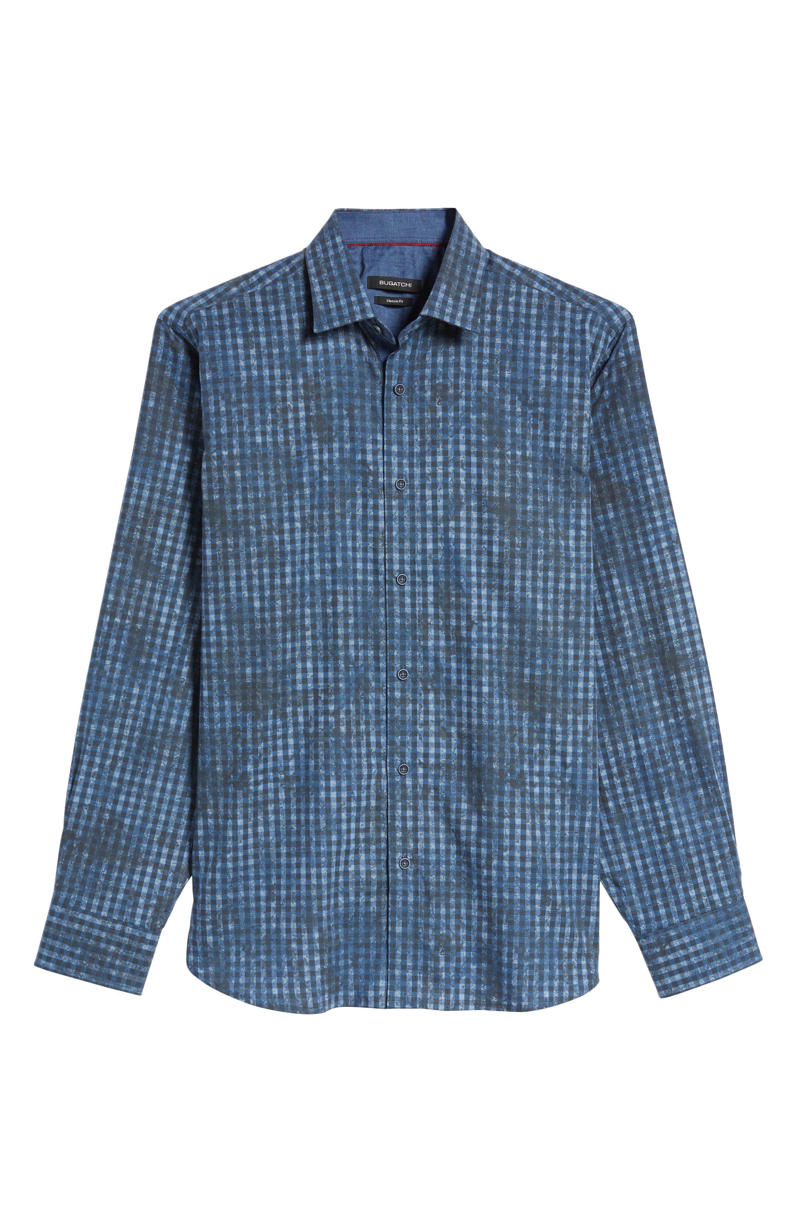 Classic Fit Mottled Check Sport Shirt,                             Alternate thumbnail 6, color,                             Indigo