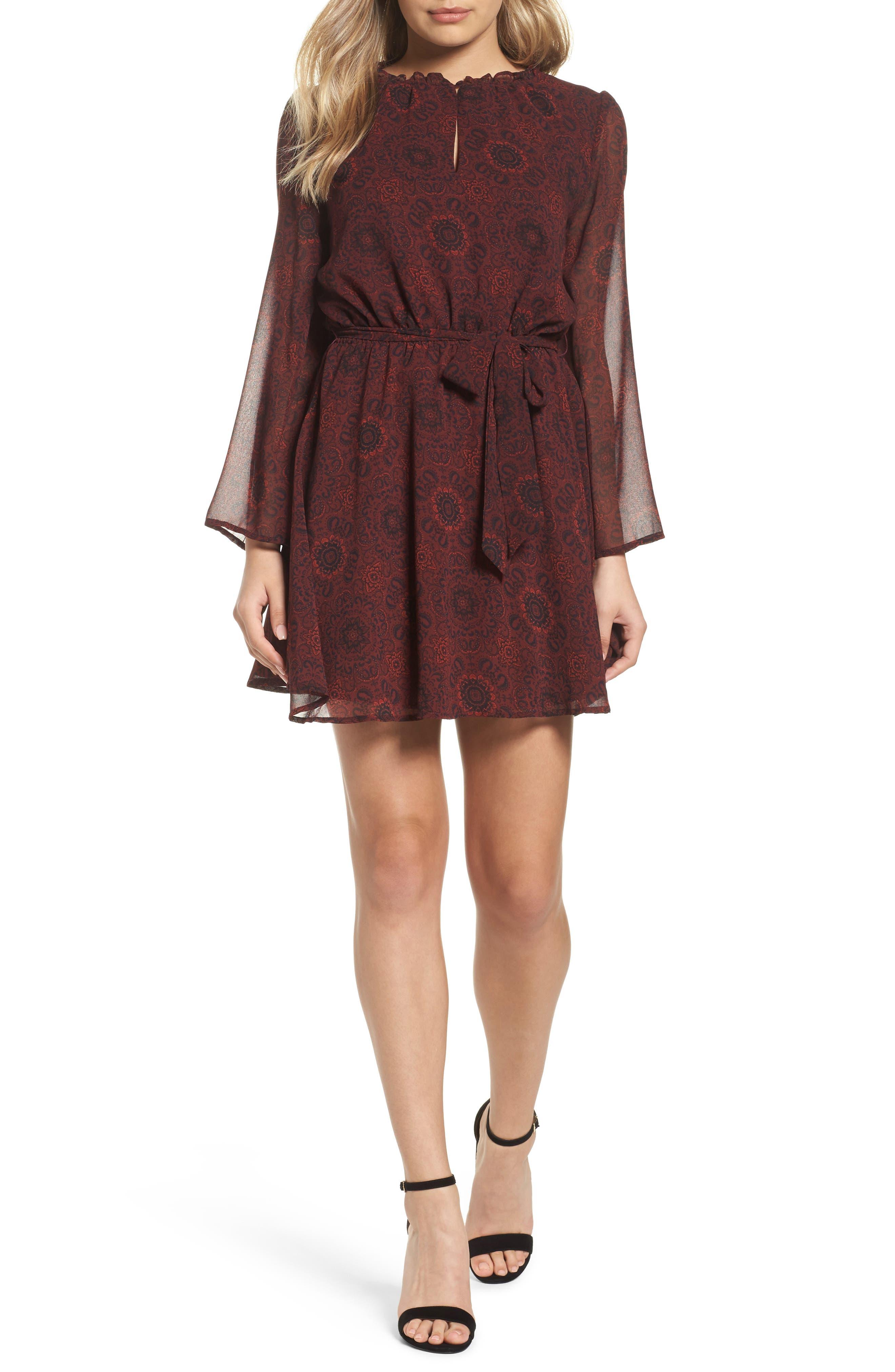 Branton Fit & Flare Dress,                         Main,                         color, Bordeaux