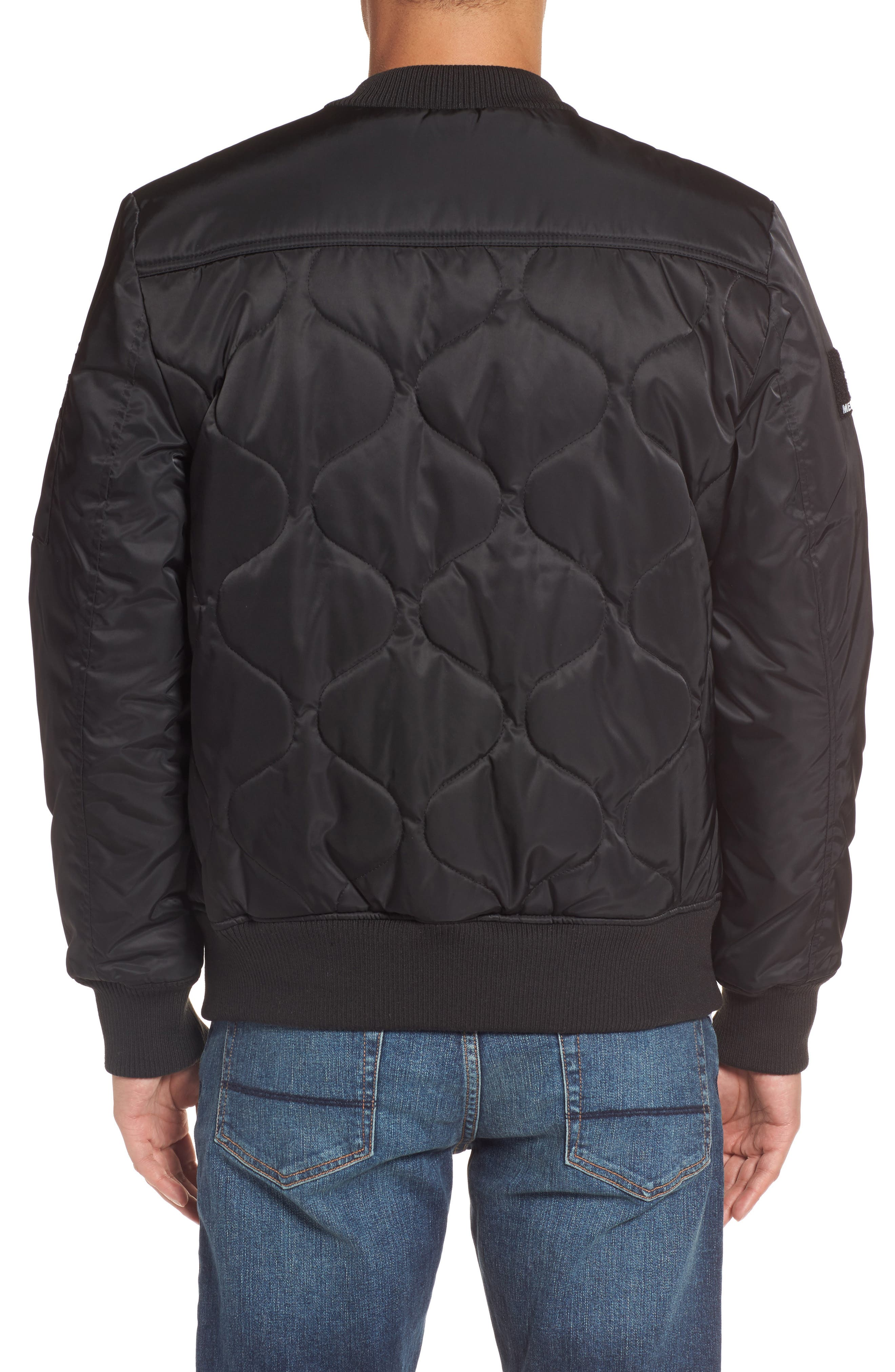 Quilted Bomber Jacket,                             Alternate thumbnail 2, color,                             Black