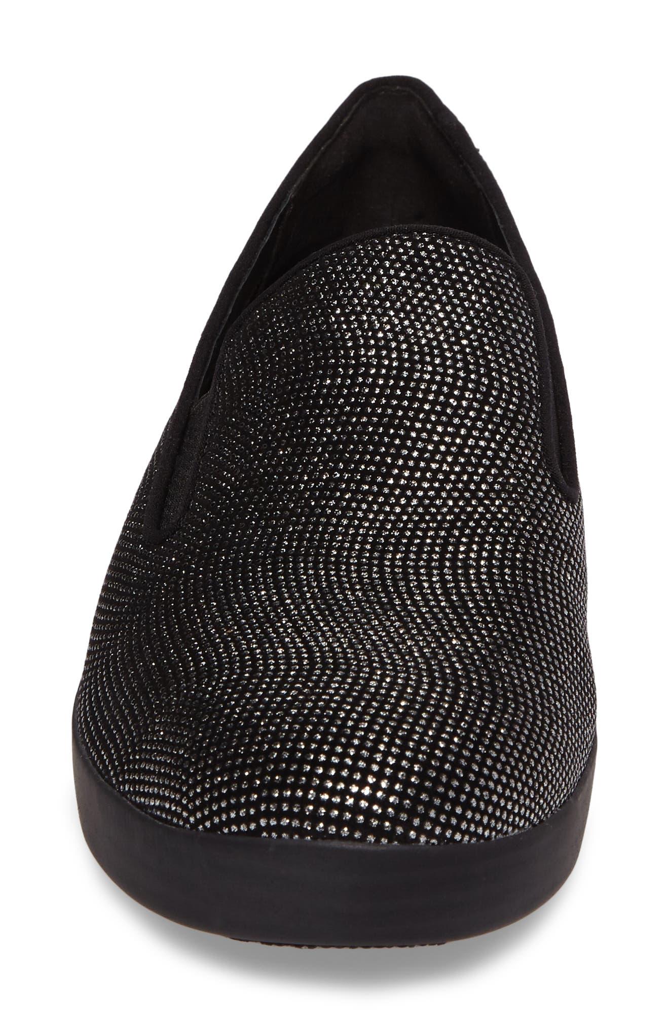 Superskate Glitter Dot Slip-On Sneaker,                             Alternate thumbnail 4, color,                             Black Glimmer Suede
