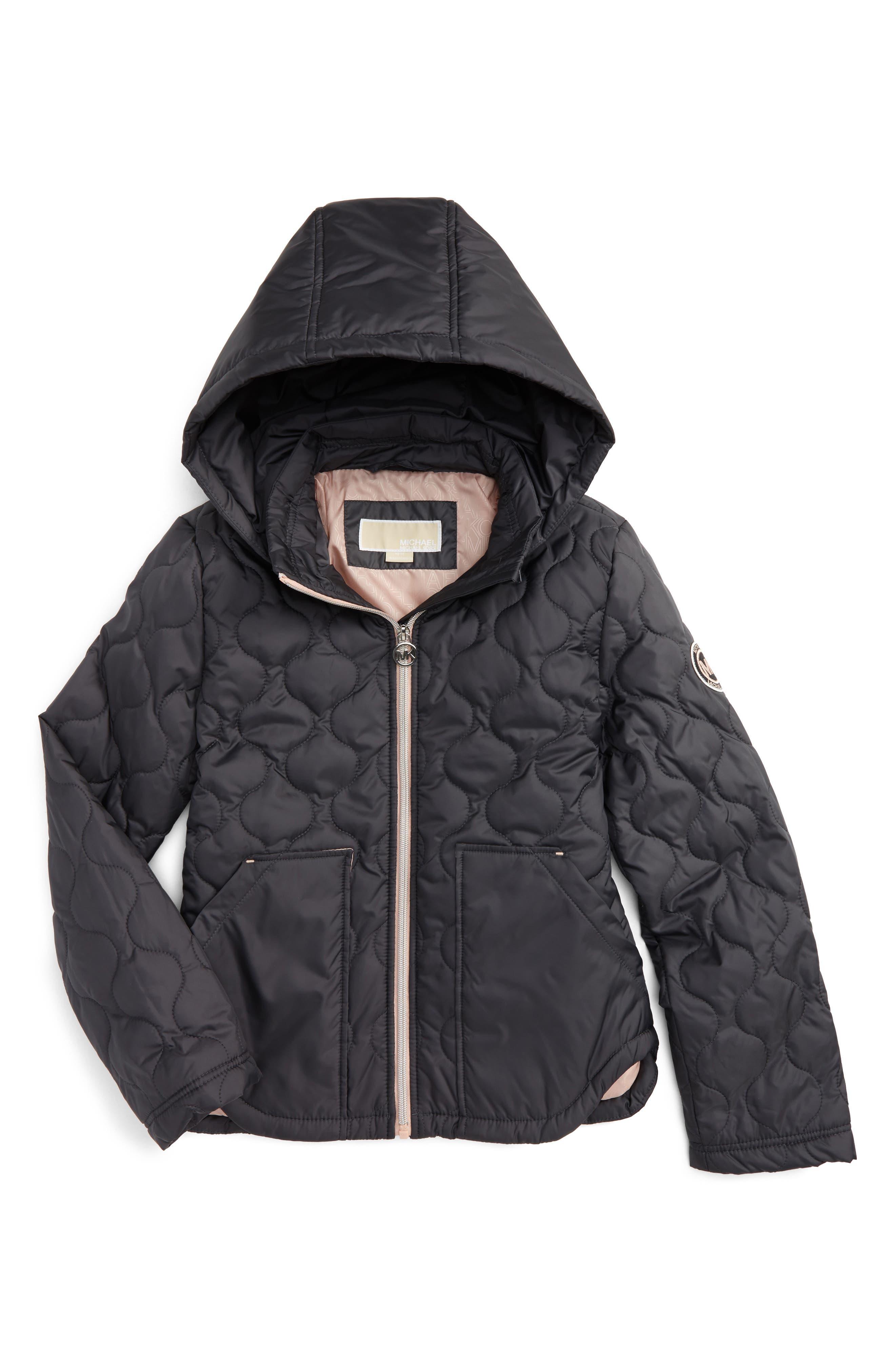 Main Image - MICHAEL Michael Kors Quilted Hooded Jacket (Big Girls)