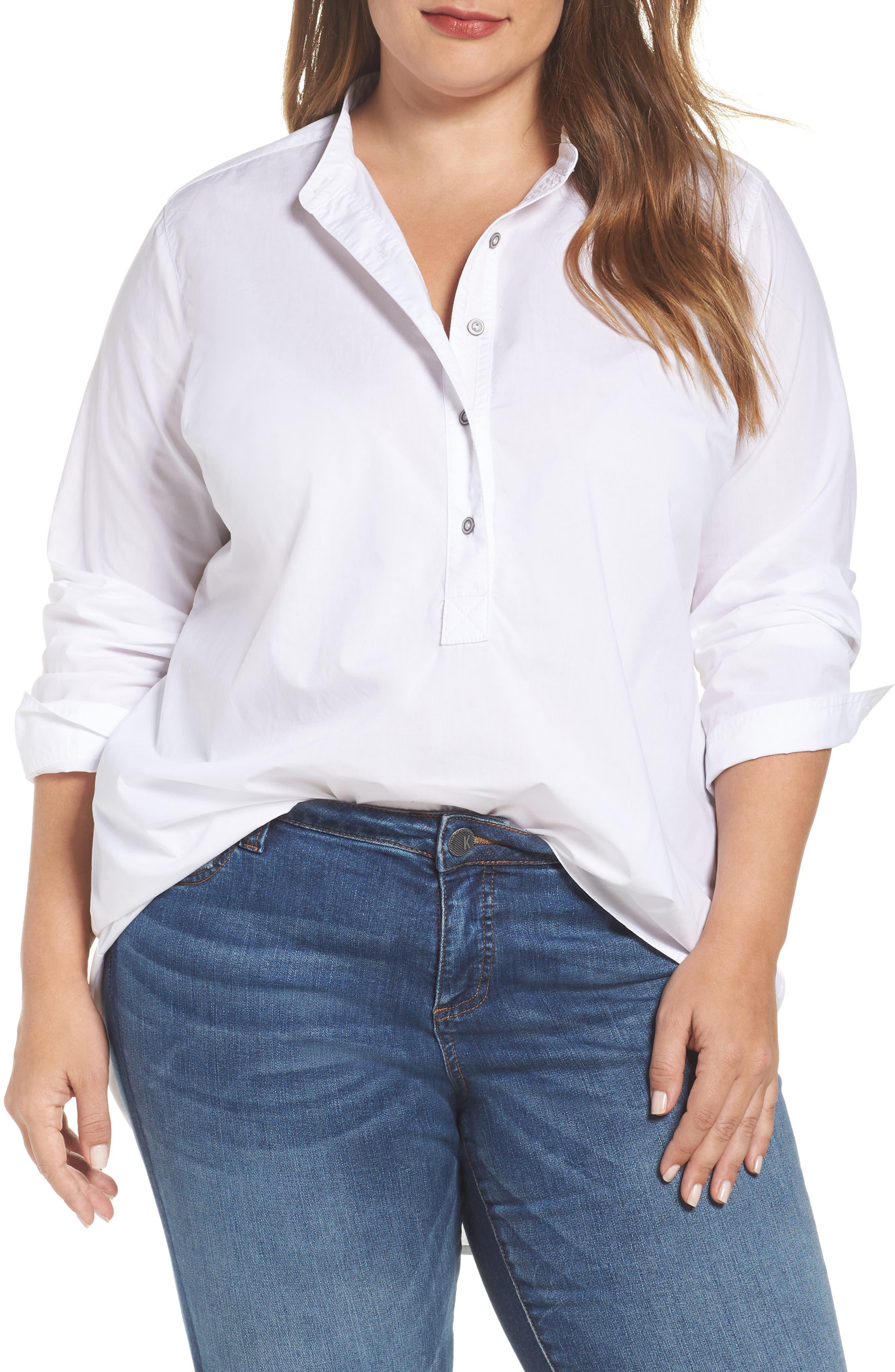 Caslon® Popover Shirt (Plus Size)