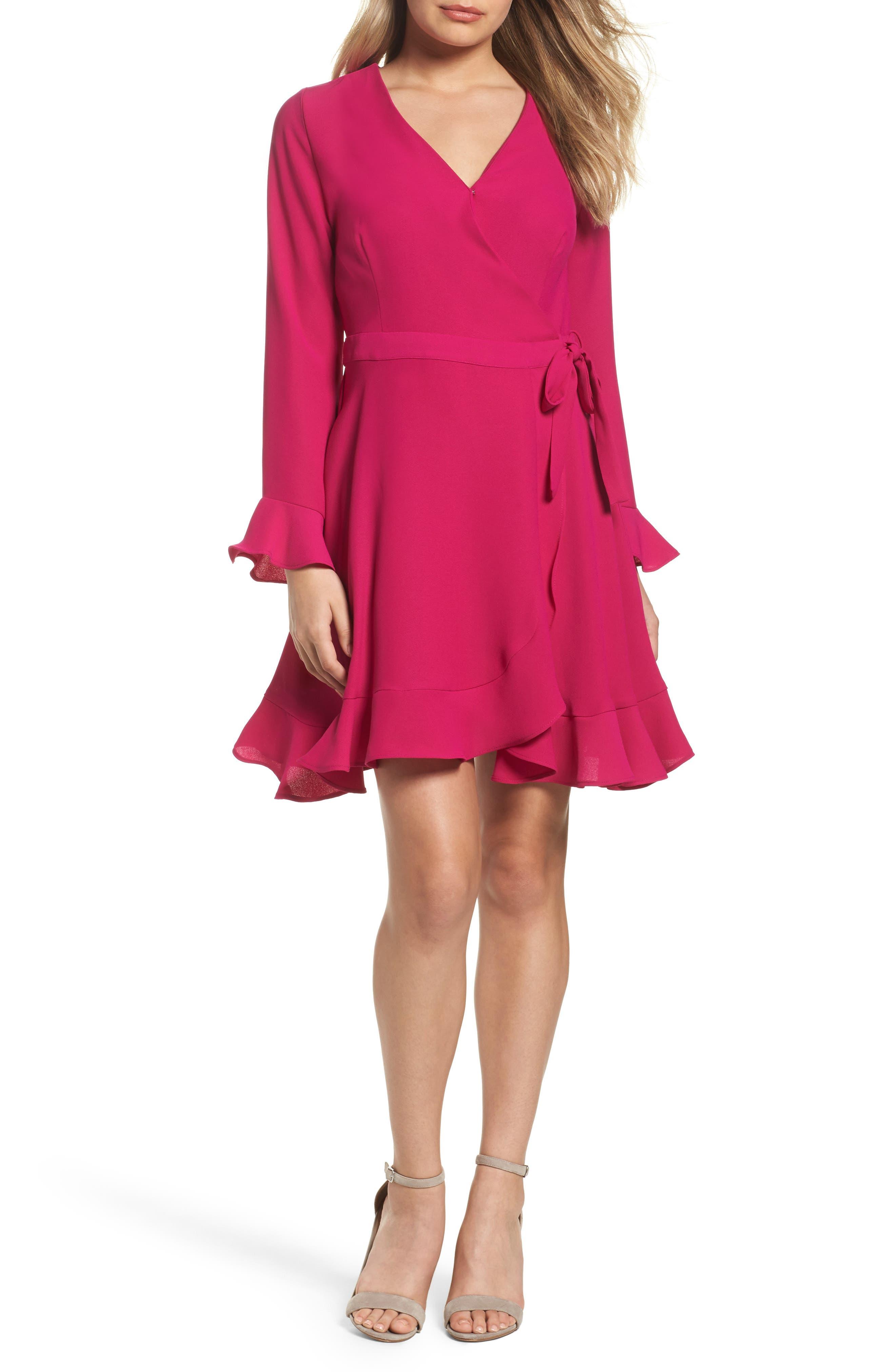Up to Cut Wrap Dress,                         Main,                         color, Fuchsia