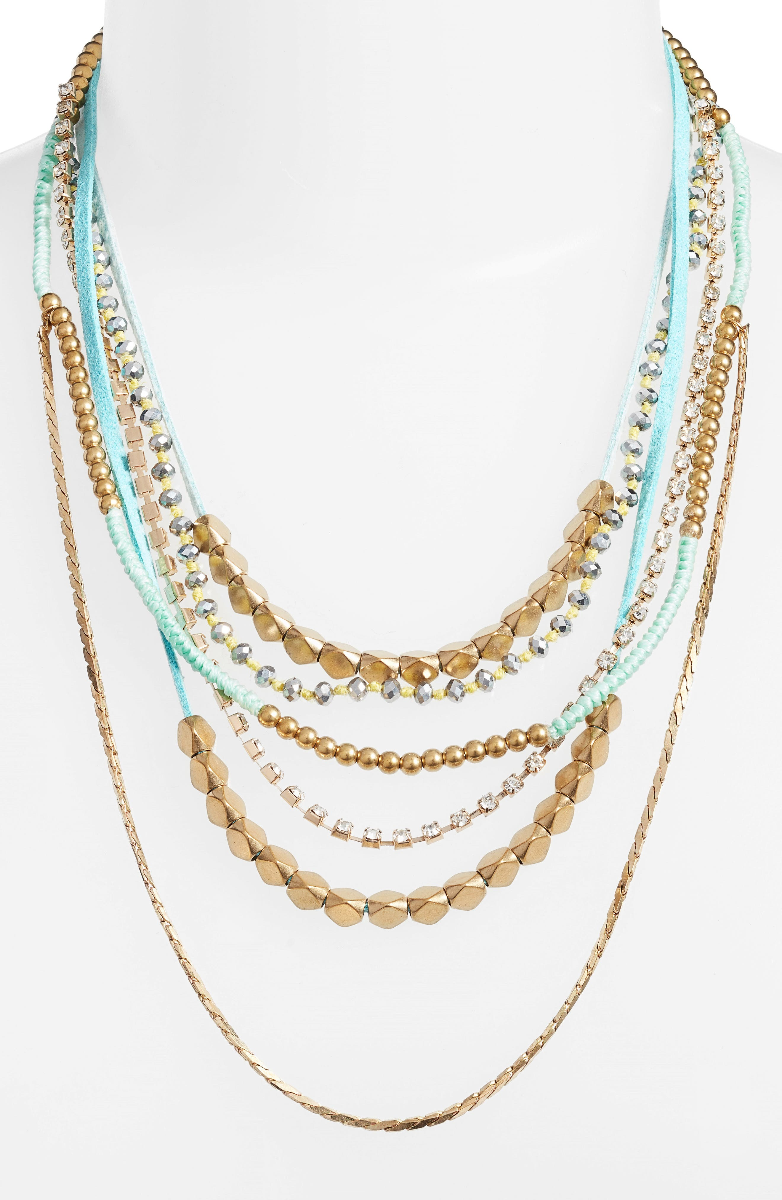 Mixed Media Statement Necklace,                         Main,                         color, Mint