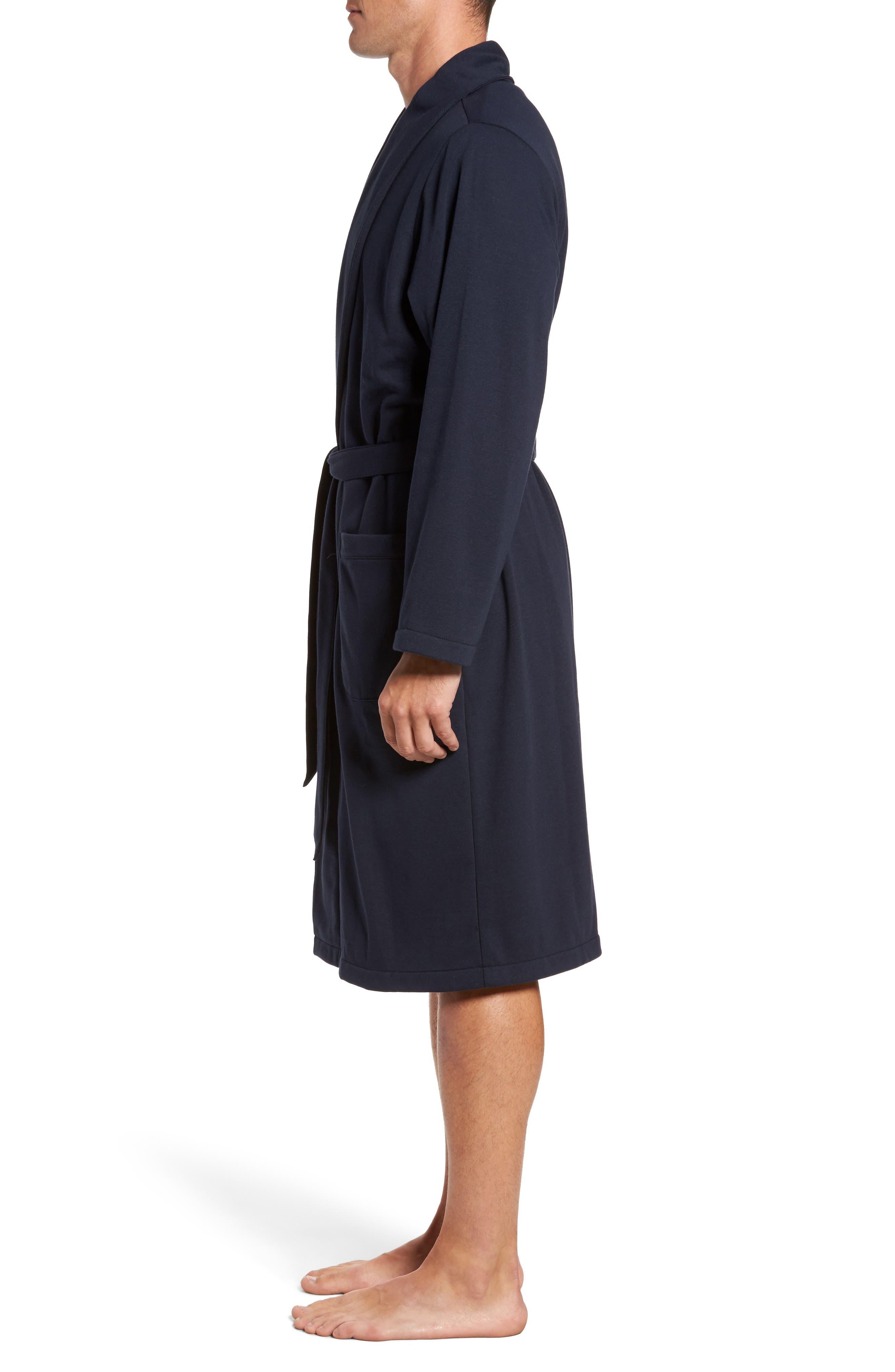 Jersey Fleece Robe,                             Alternate thumbnail 3, color,                             Navy