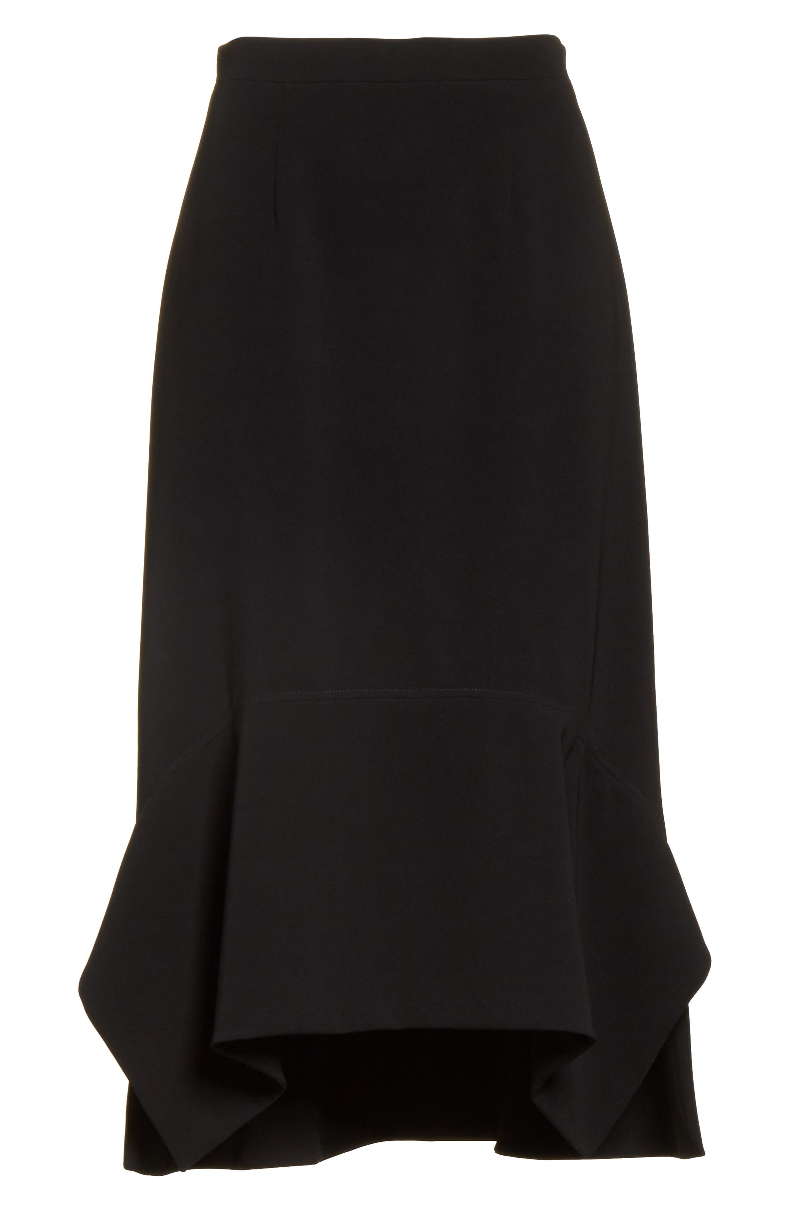 Drape Hem Midi Skirt,                             Alternate thumbnail 7, color,                             Black