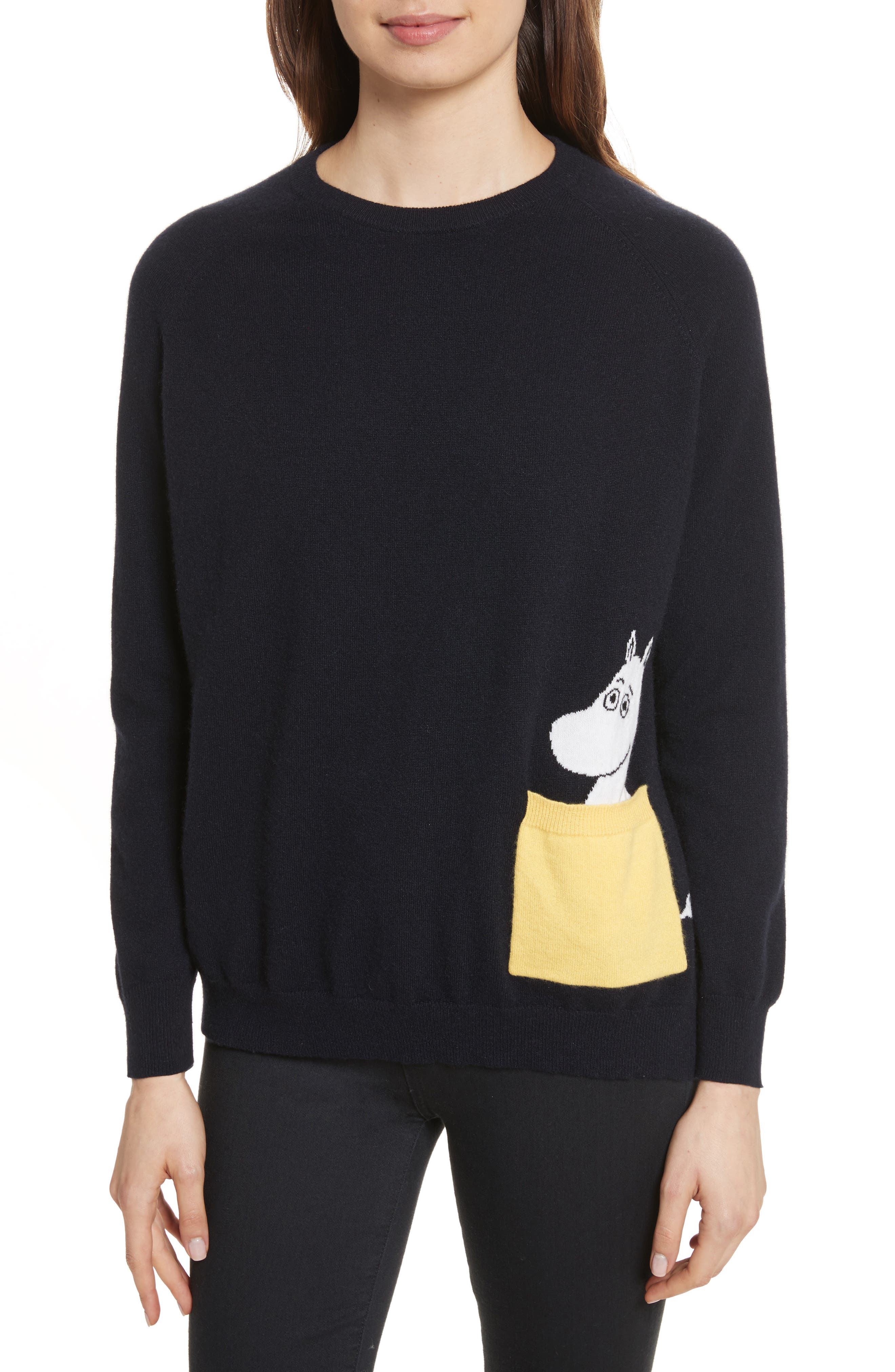 CHINTI & PARKER Moomin Pocket Cashmere Sweater,                         Main,                         color, Navy/ Yellow