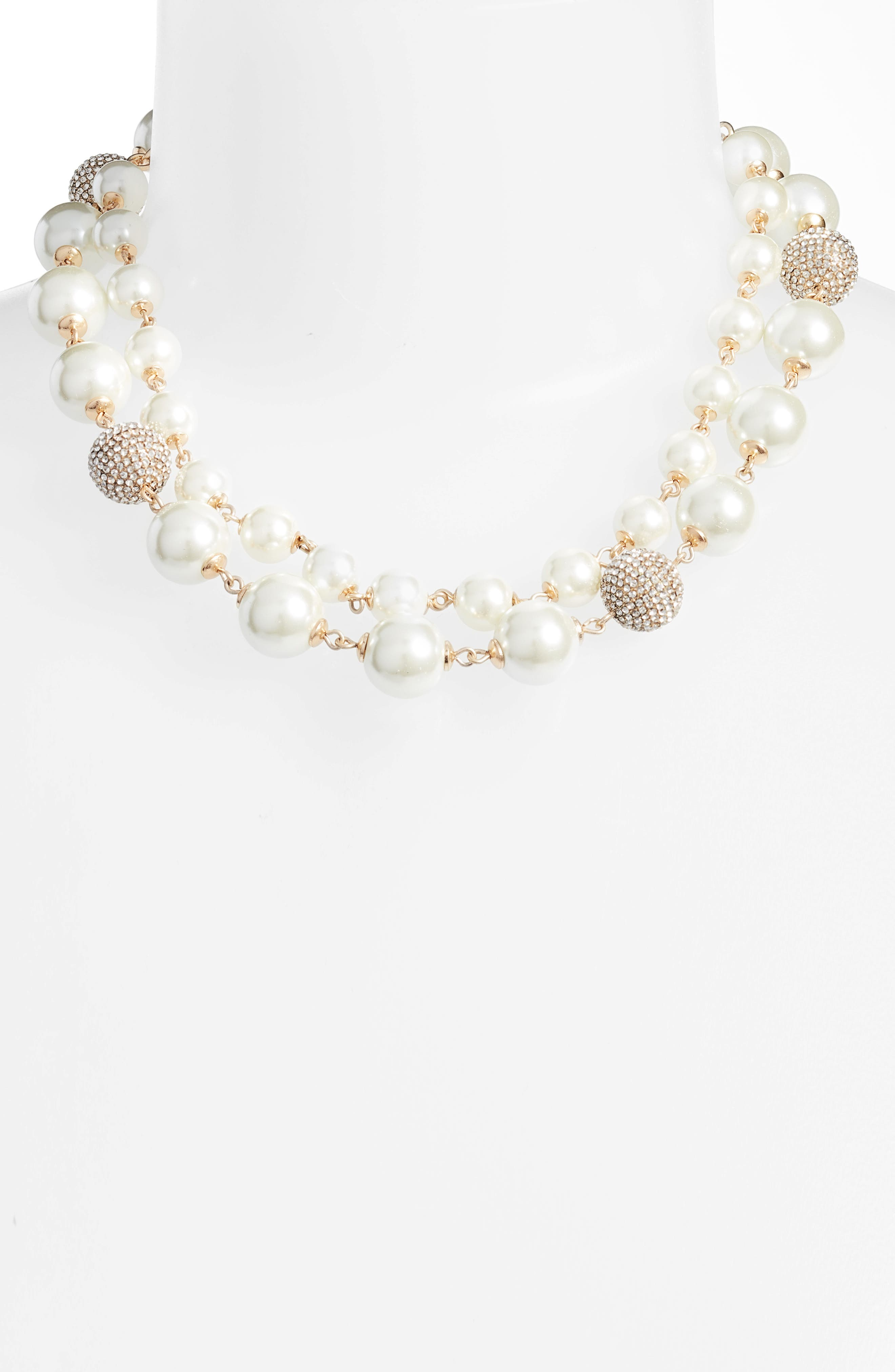 Multistrand Imitation Pearl Necklace,                             Alternate thumbnail 2, color,                             Gold/ Pearl/ Crystal