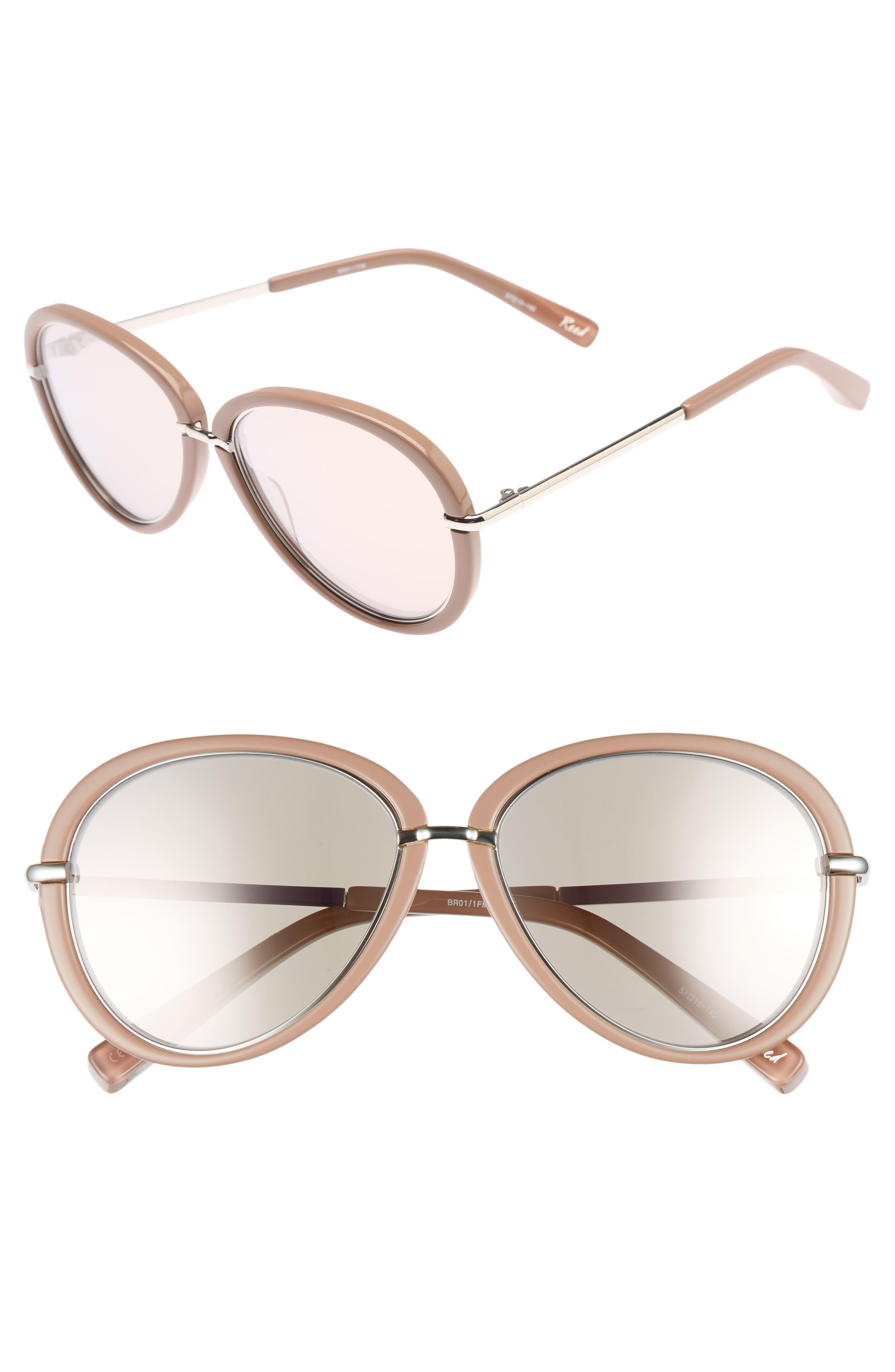 Reed 57mm Aviator Sunglasses,                         Main,                         color, Stone
