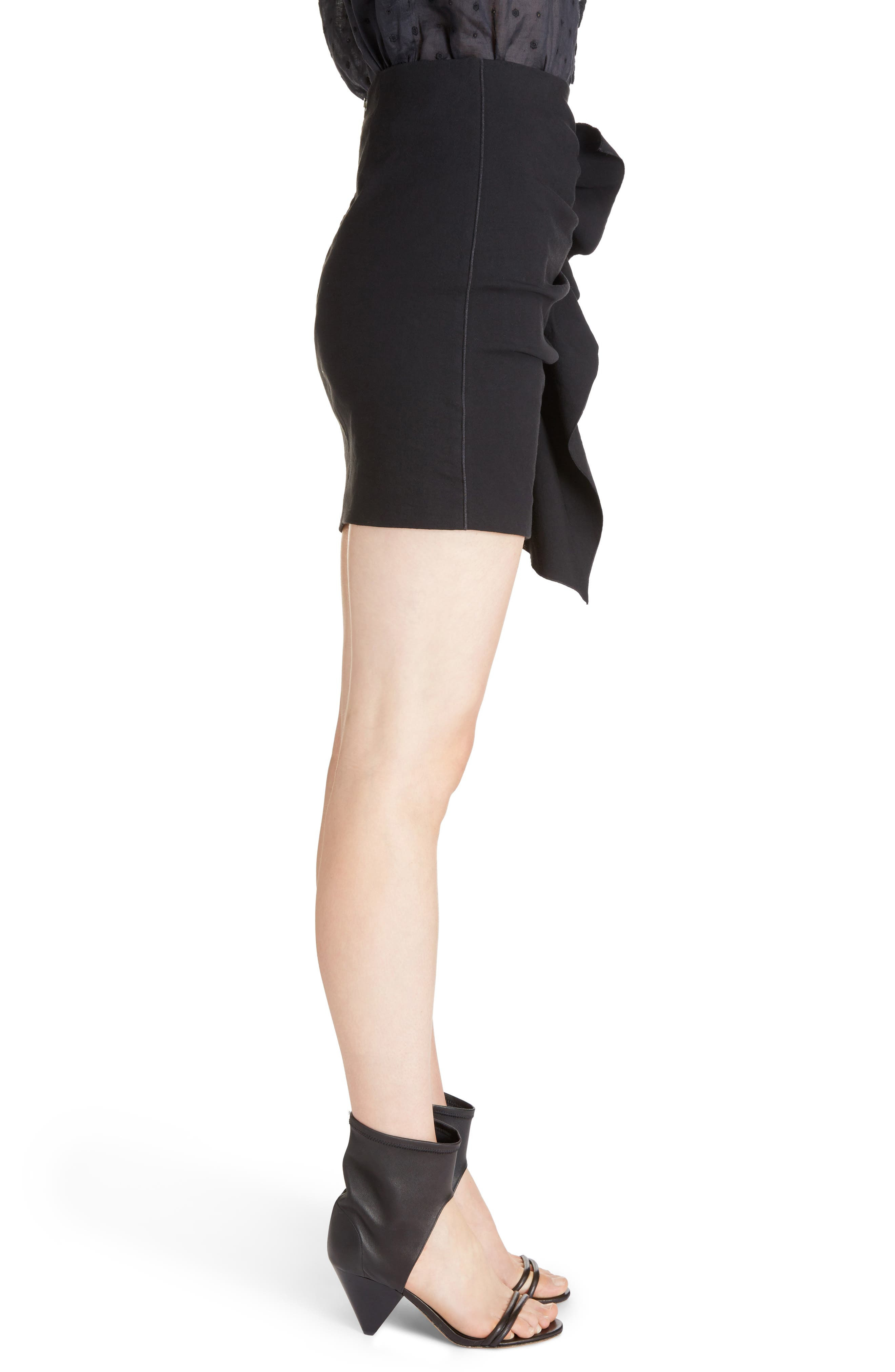 Lefly Ruffle Miniskirt,                             Alternate thumbnail 3, color,                             Black