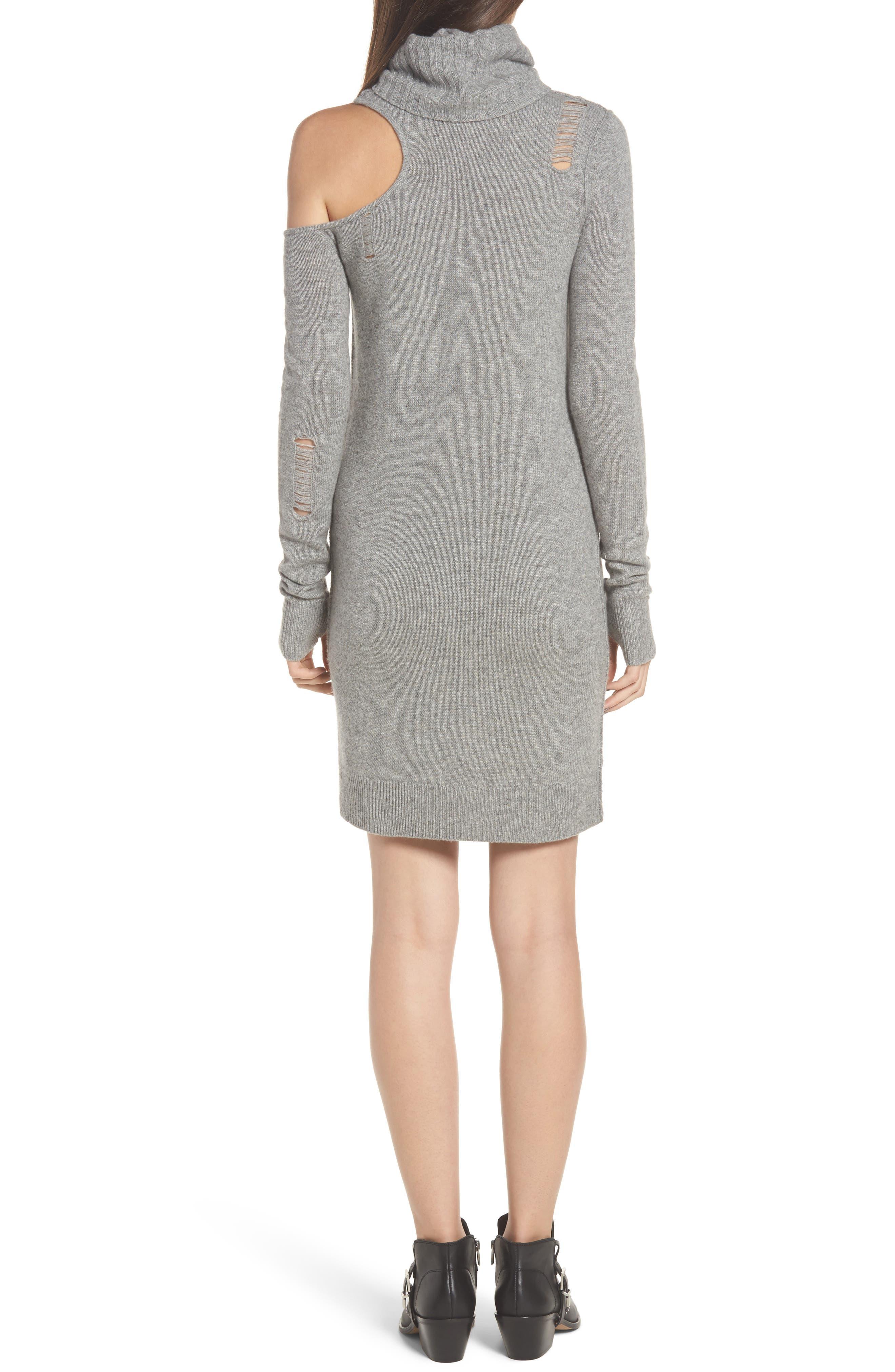 Destroyed Turtleneck Sweater Dress,                             Alternate thumbnail 2, color,                             Heather Grey