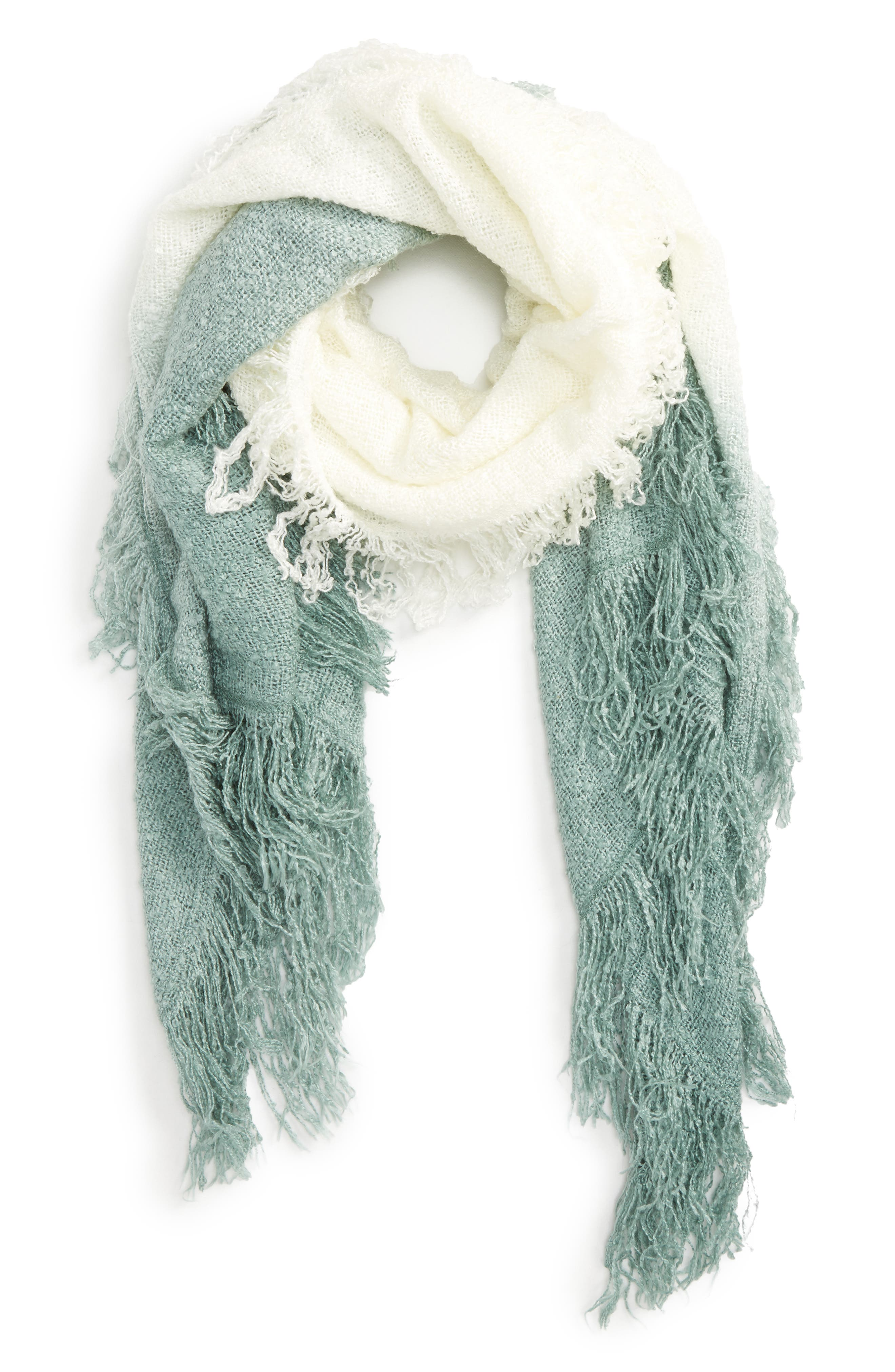 Accessory Collective Dip Dye Scarf,                         Main,                         color, Mint