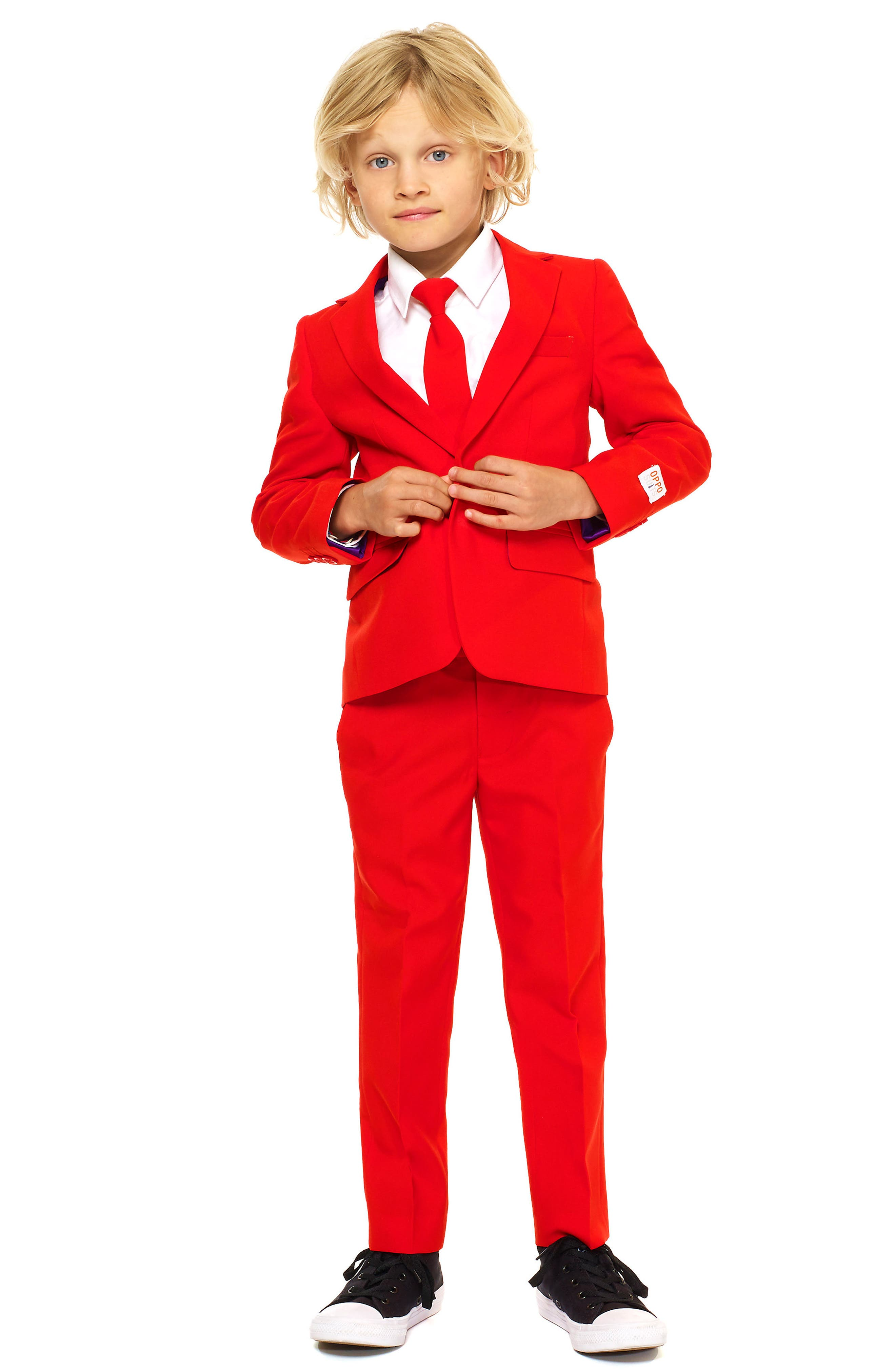 Oppo Red Devil Two-Piece Suit with Tie,                             Alternate thumbnail 3, color,                             Red