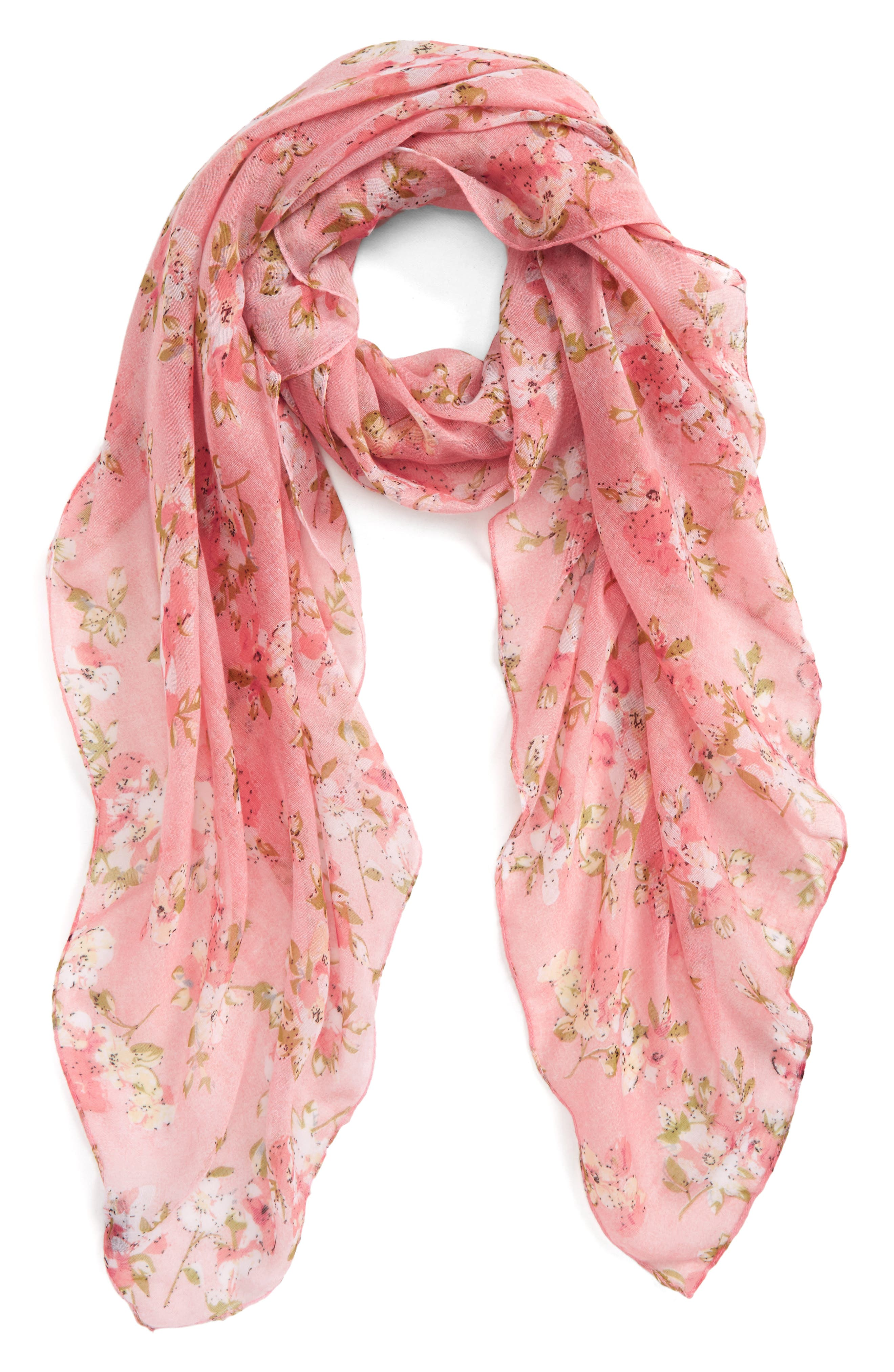 Accessory Collective Floral Cluster Oblong Scarf,                         Main,                         color, Pink Multi