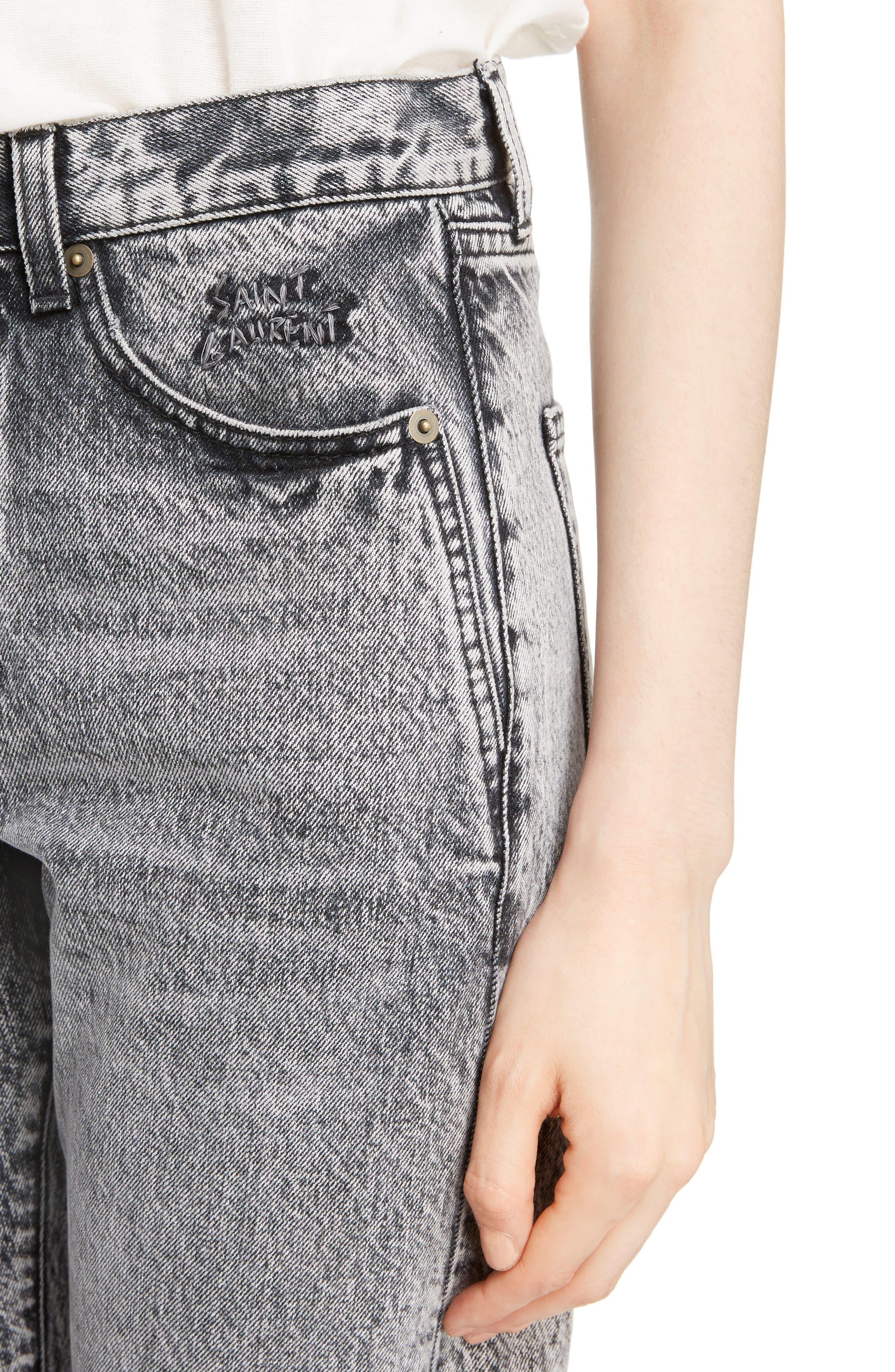Embroidered Logo Slim Boyfriend Jeans,                             Alternate thumbnail 4, color,                             Black Snow Wash