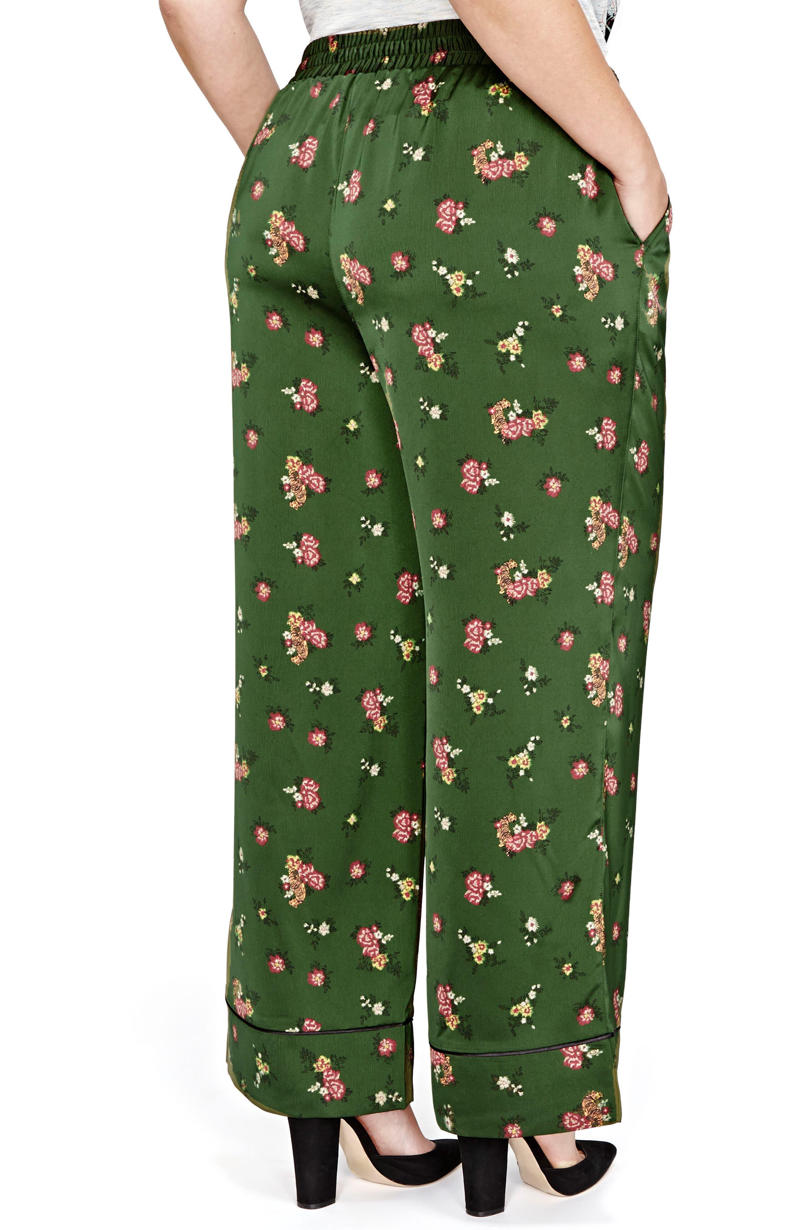 Jordyn Woods Wide-Leg Satin Pants,                             Alternate thumbnail 3, color,                             Deep Khaki Floral Aop