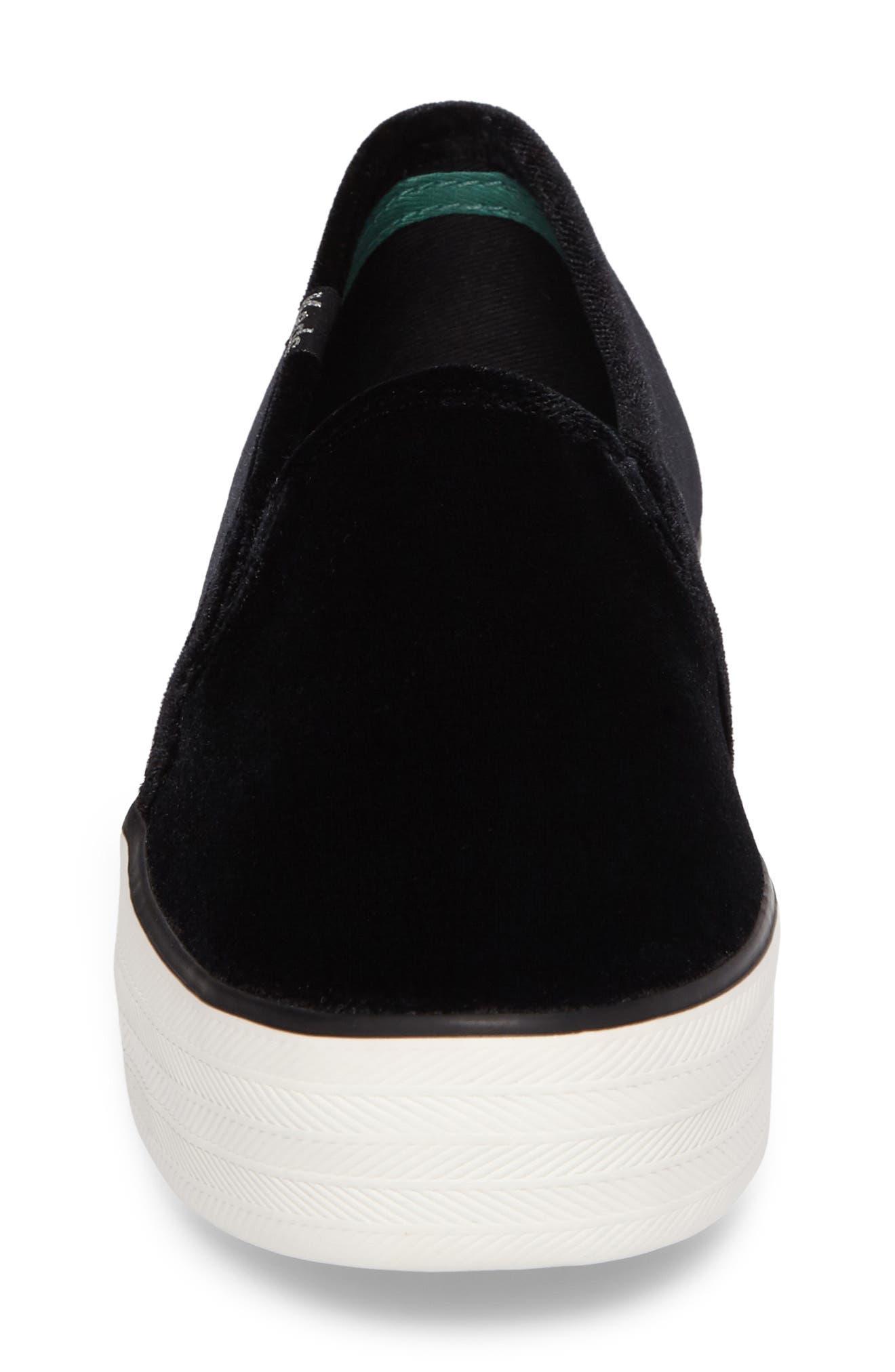 Triple Decker Slip-On Platform Sneaker,                             Alternate thumbnail 4, color,                             Black Velvet