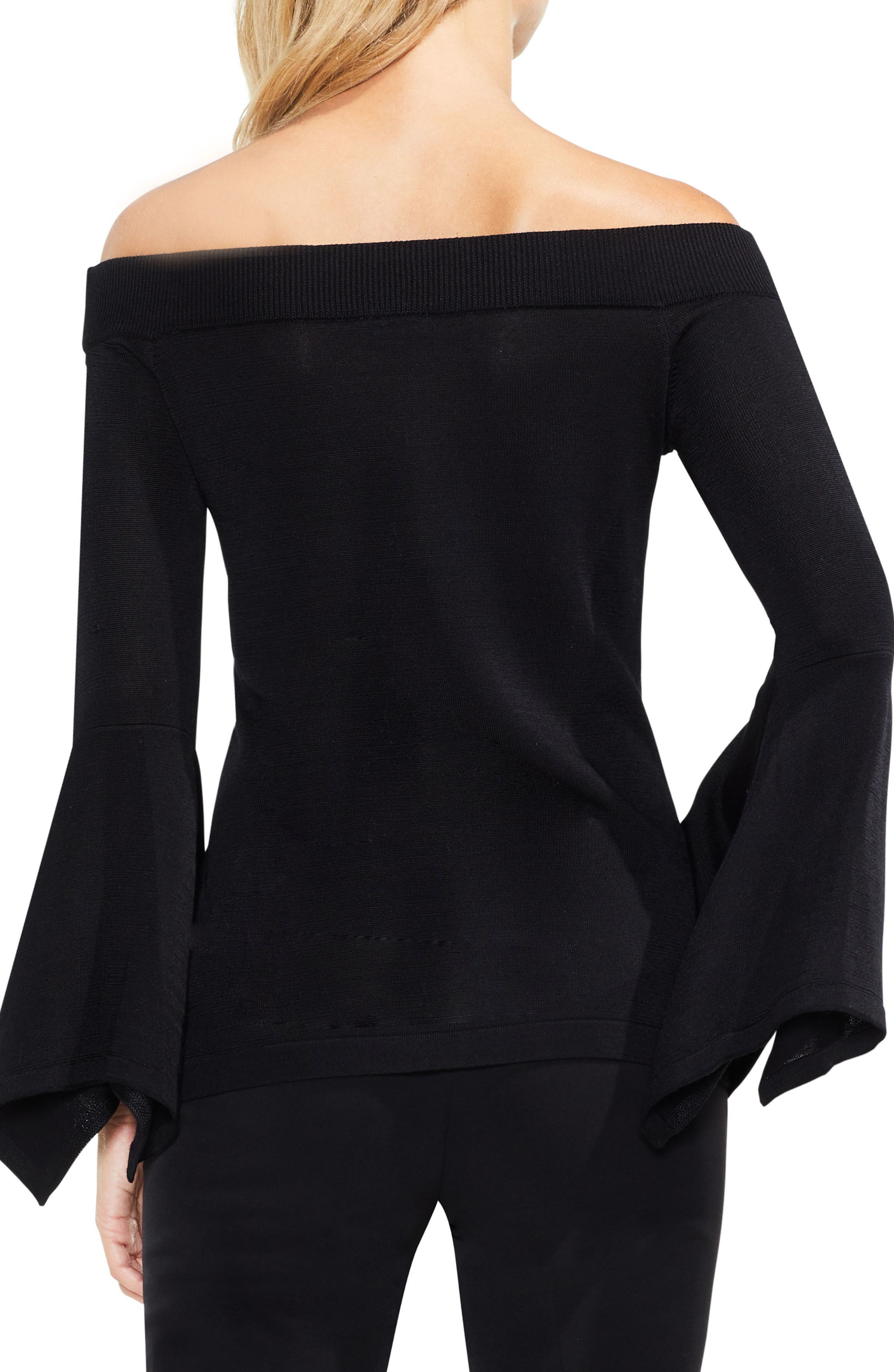 Off the Shoulder Handkerchief Bell Sleeve Sweater,                             Alternate thumbnail 2, color,                             Rich Black