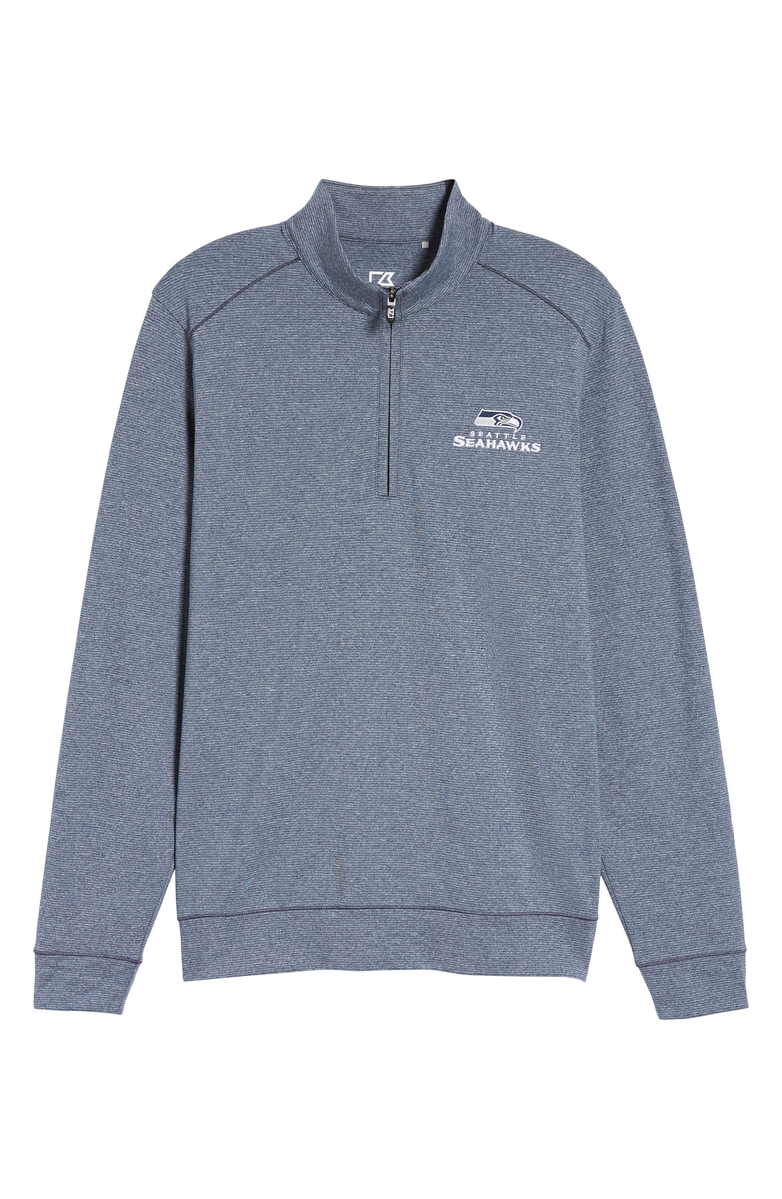 Seahawks Shoreline Quarter Zip Pullover,                             Alternate thumbnail 6, color,                             Liberty Navy Heather