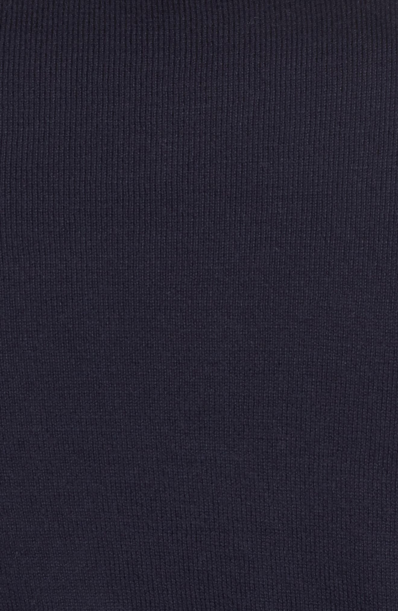 Saddle Shoulder Cotton & Cashmere V-Neck Sweater,                             Alternate thumbnail 5, color,                             Navy Night