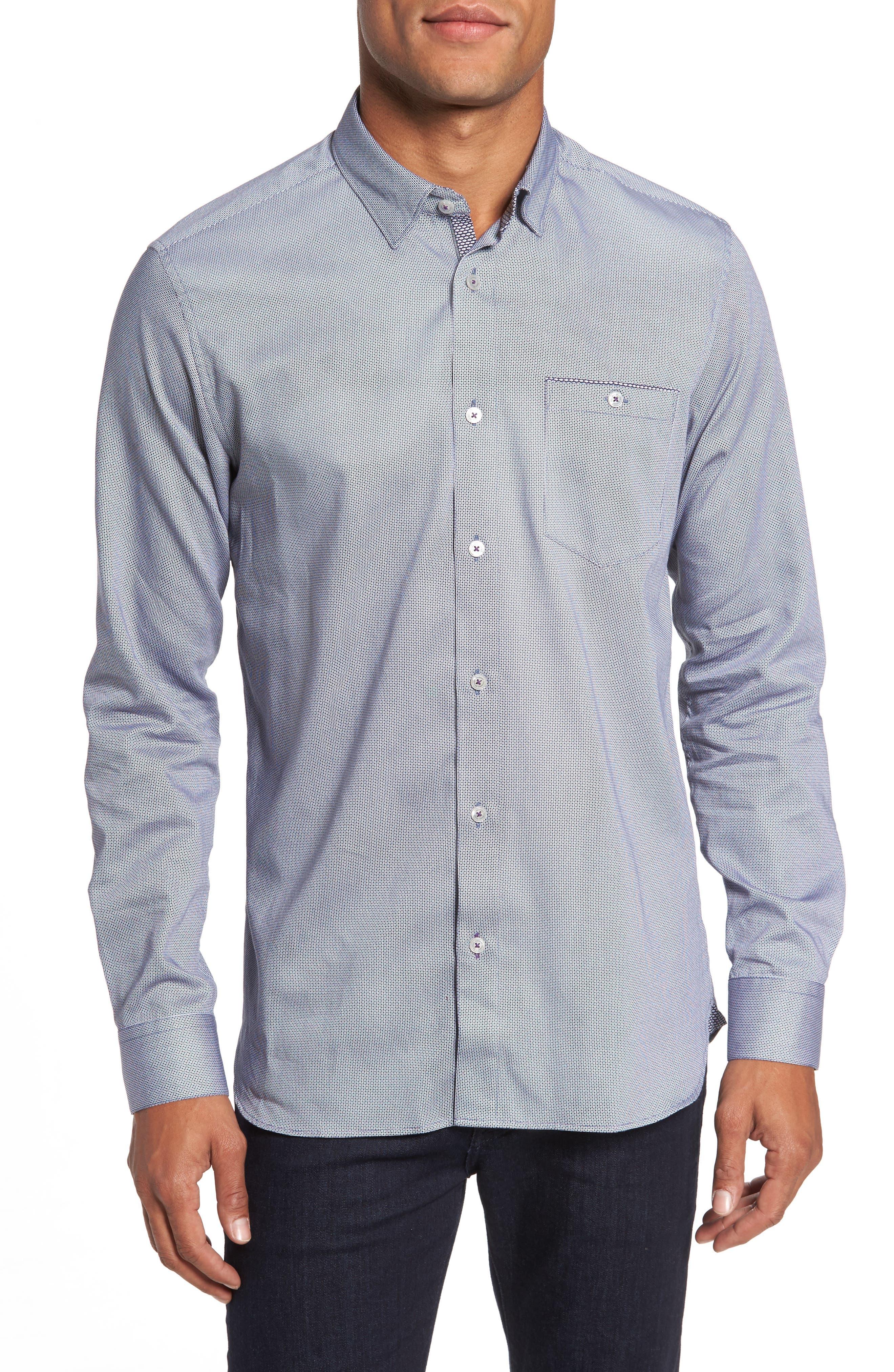 Ted Baker London Kerr Slim Fit Dot Print Sport Shirt