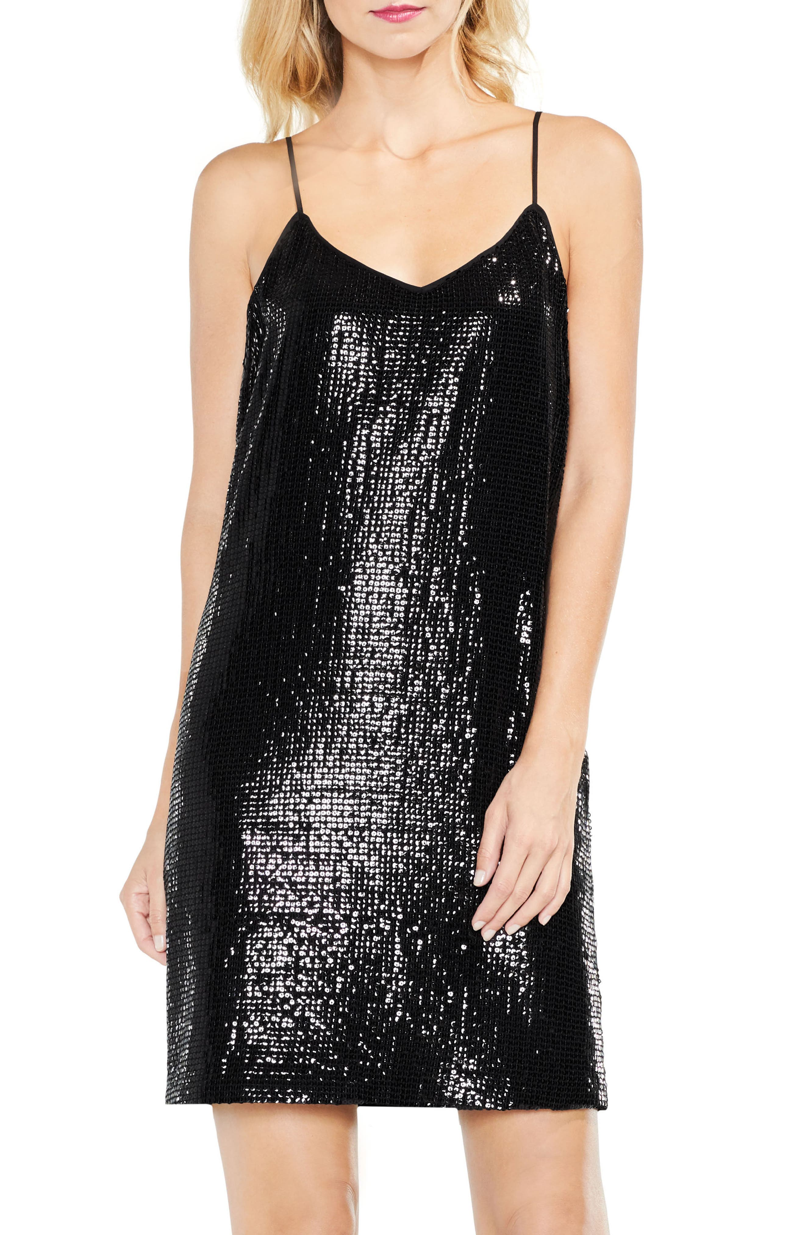 Sequined Slipdress,                         Main,                         color, Rich Black