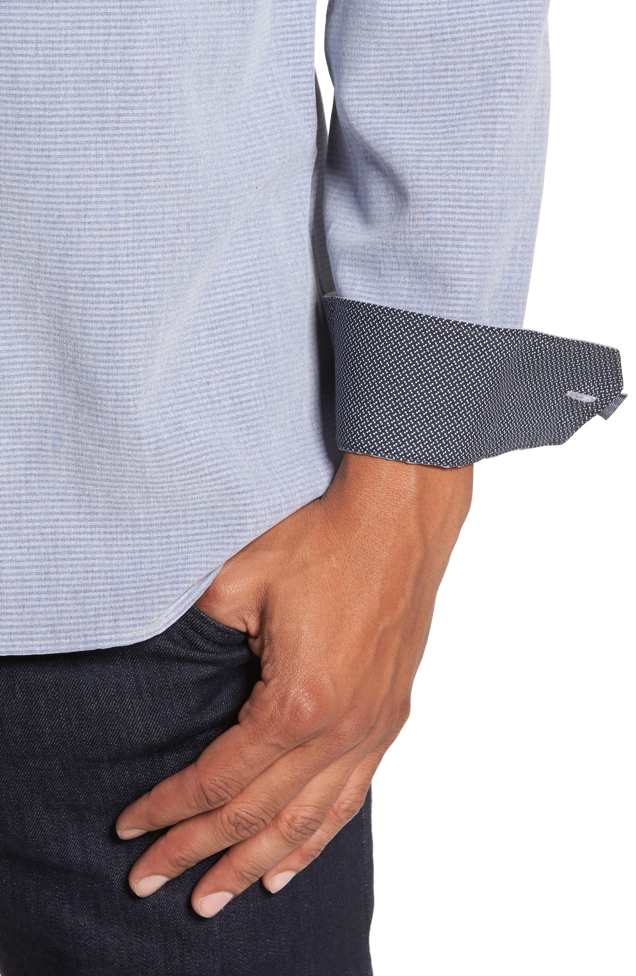 Mettro Slim Fit Horizontal Stripe Sport Shirt,                             Alternate thumbnail 4, color,                             Grey