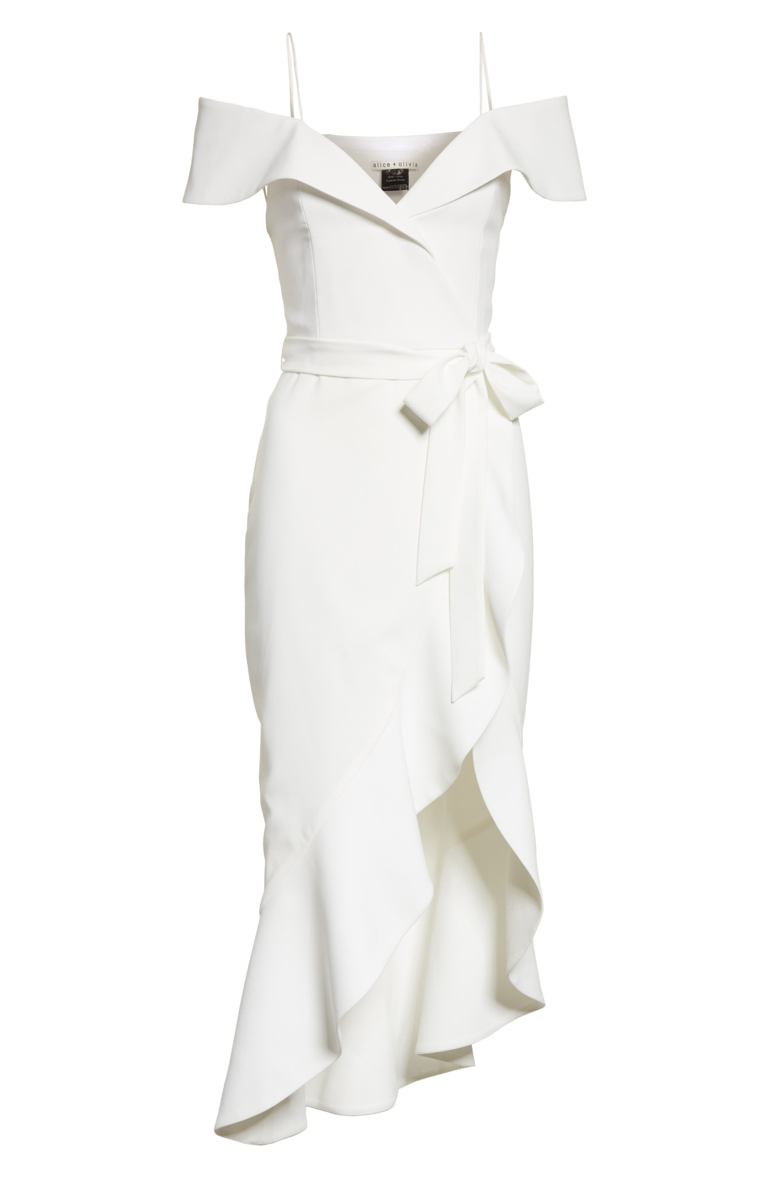 Josie Off the Shoulder Ruffle Wrap Dress,                             Alternate thumbnail 6, color,                             Off White