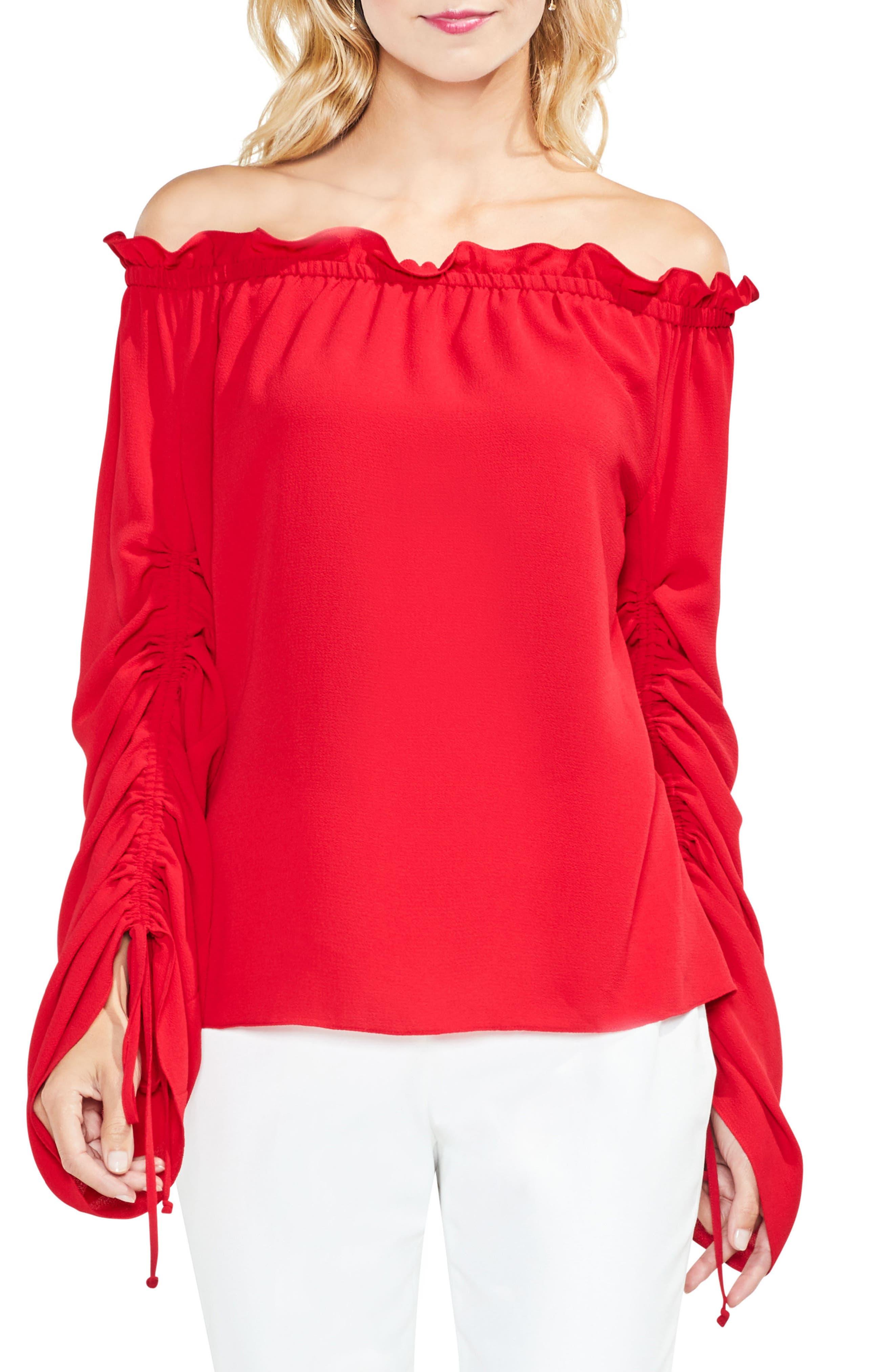 Off the Shoulder Ruched Sleeve Blouse,                         Main,                         color, True Crimson