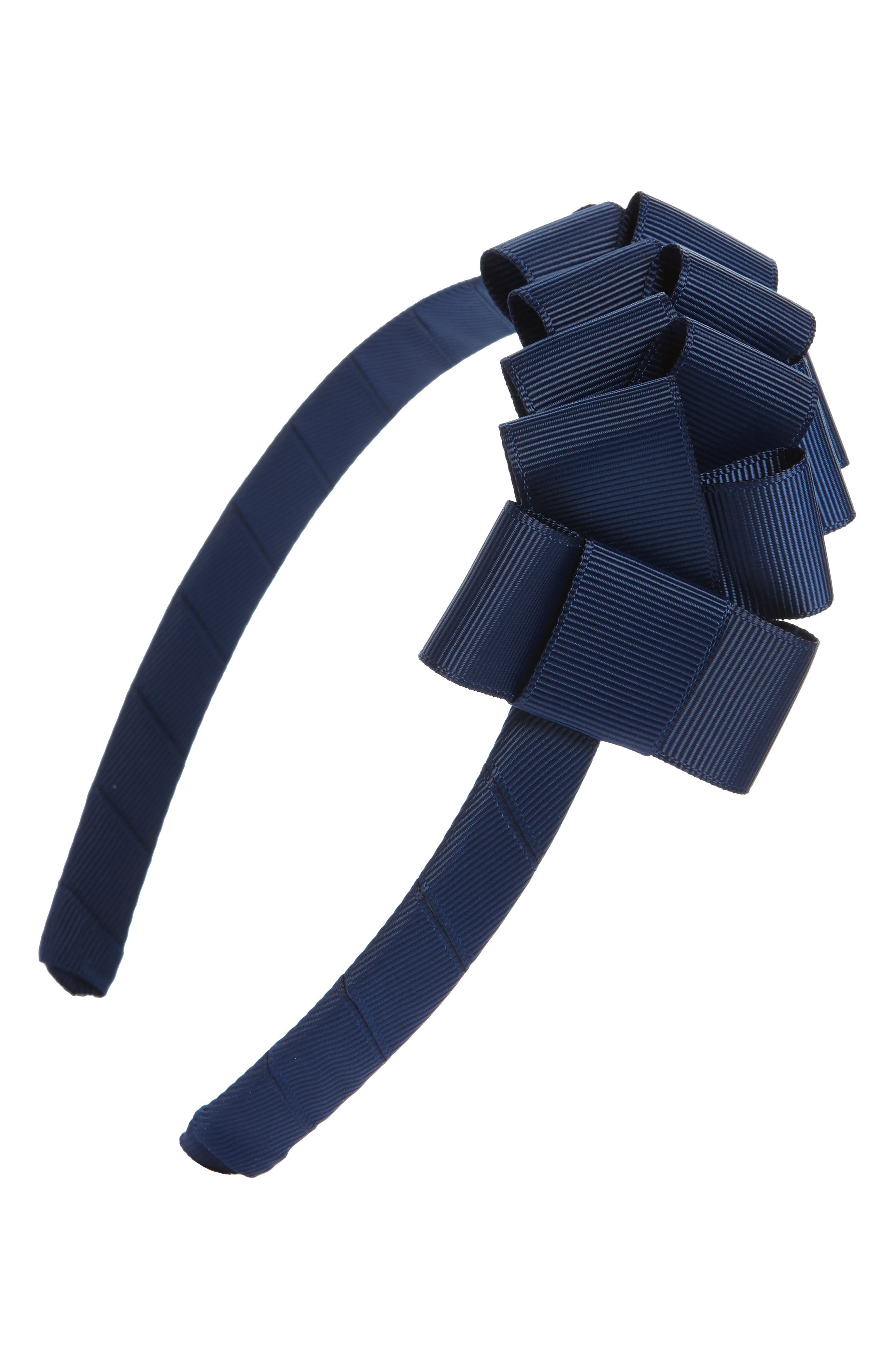 Grosgrain Bow Headband,                         Main,                         color, Navy