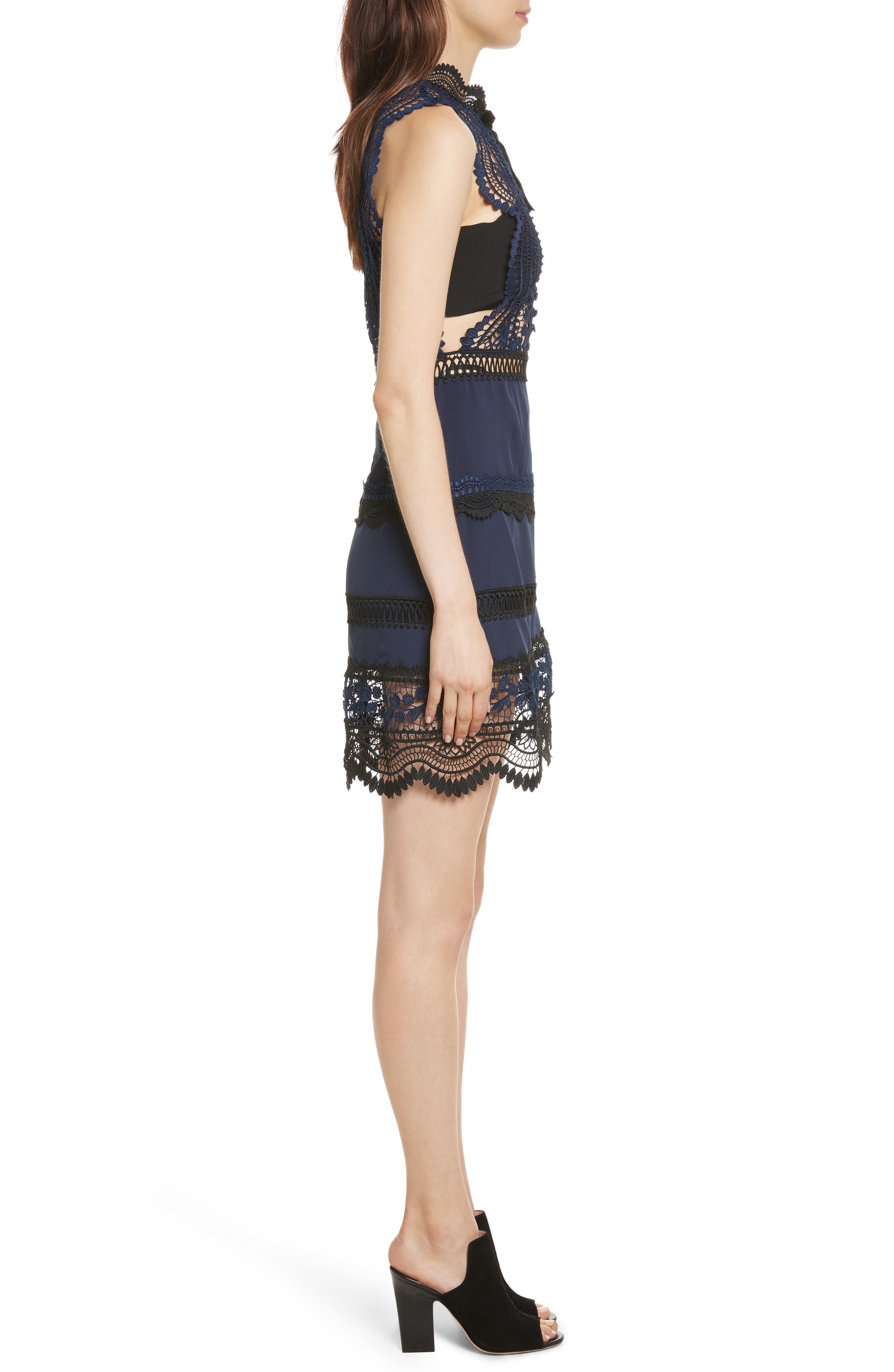 Bellis Lace Dress,                             Alternate thumbnail 3, color,                             Blue