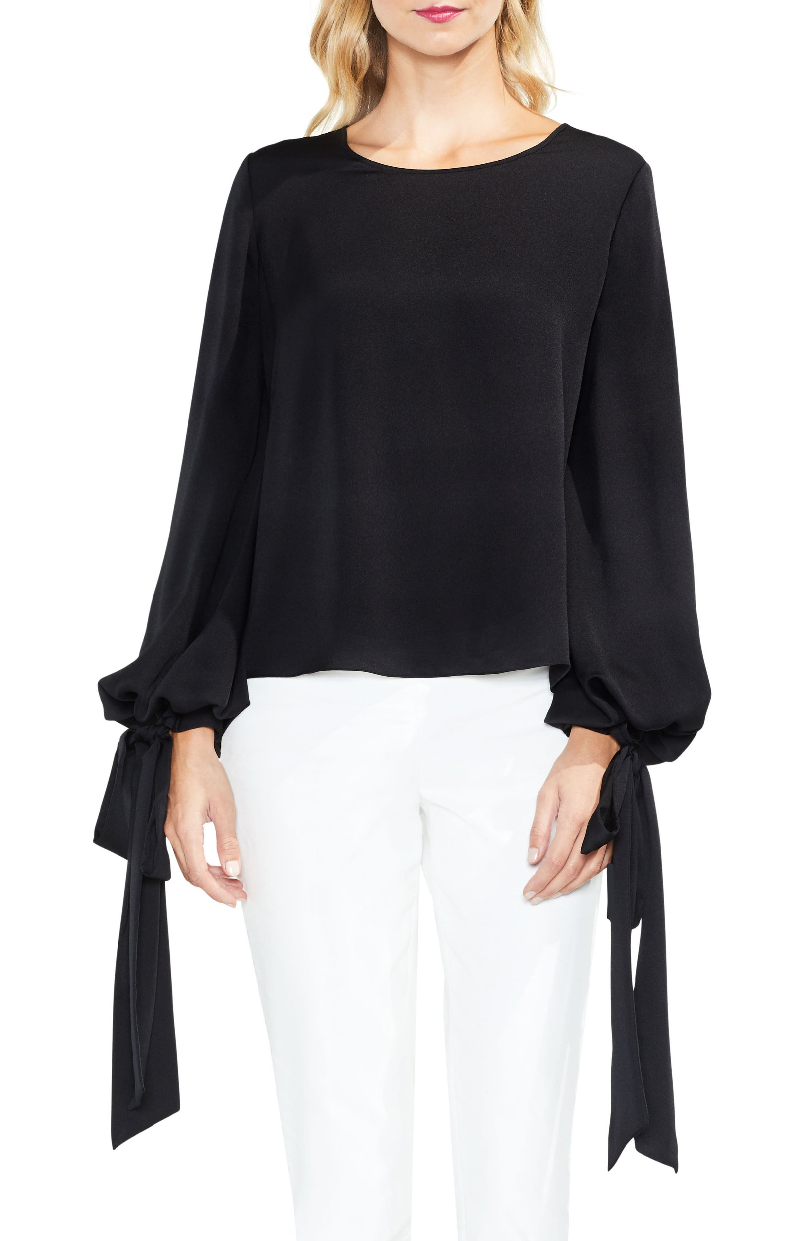 Alternate Image 1 Selected - Vince Camuto Tie Cuff Bubble Sleeve Blouse (Regular & Petite)