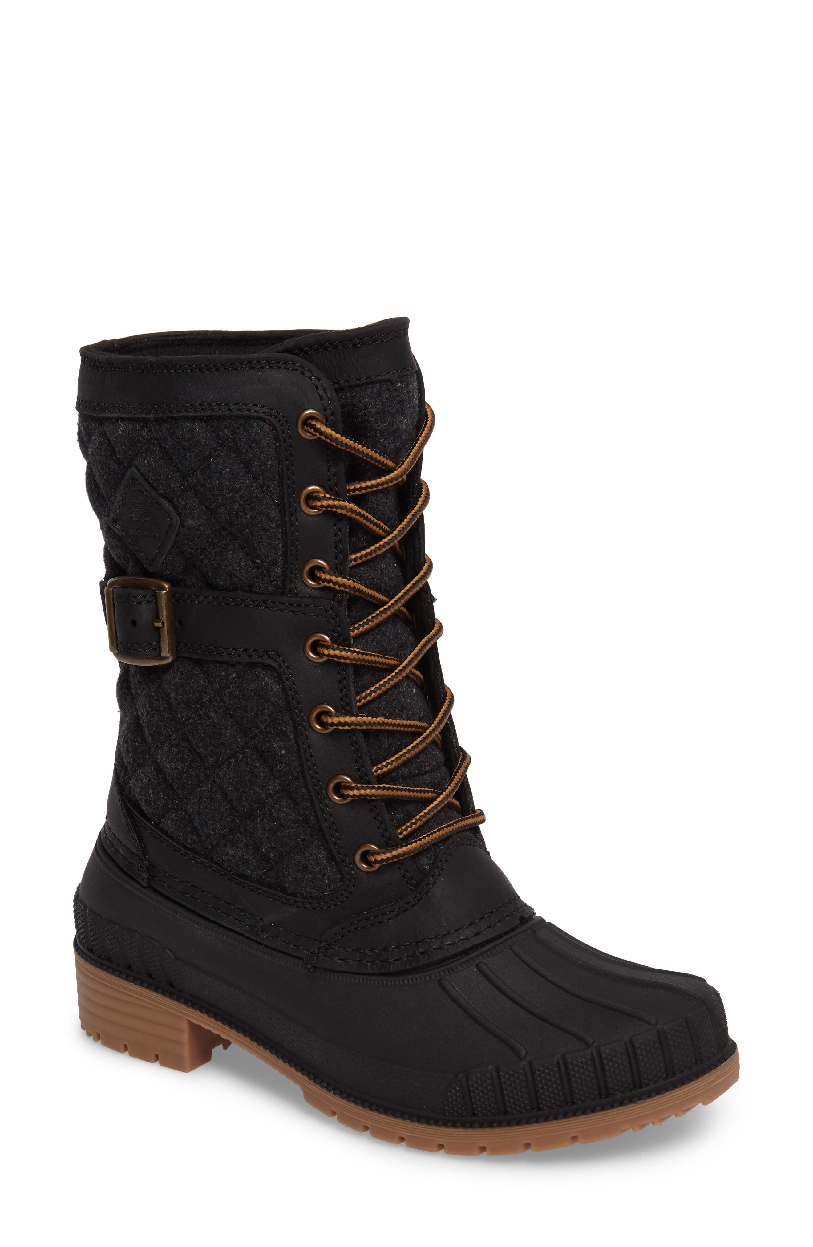 Sienna Boot,                         Main,                         color, Black Fabric