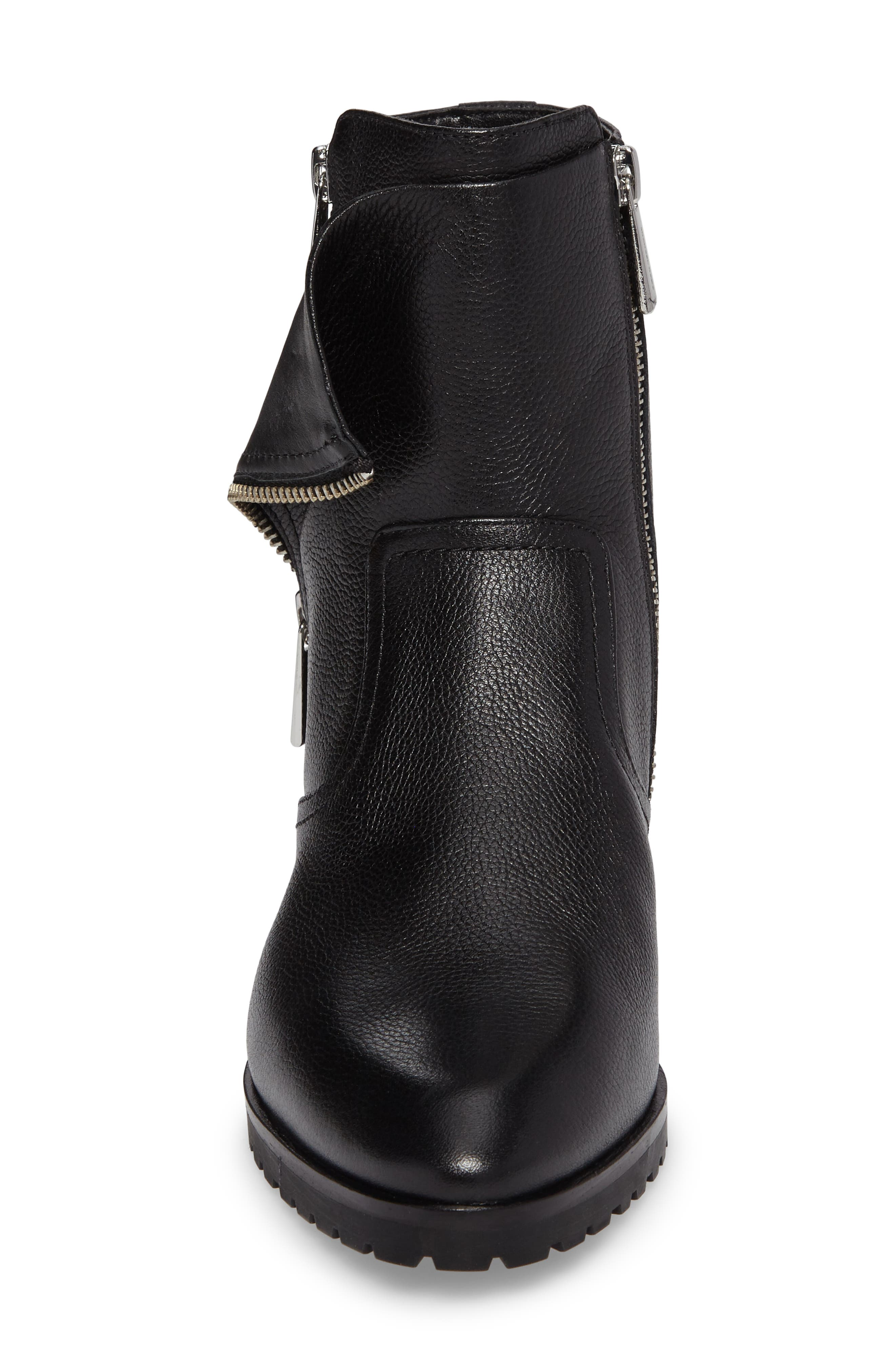 Andi Flat Bootie,                             Alternate thumbnail 4, color,                             Black Tumbled Leather