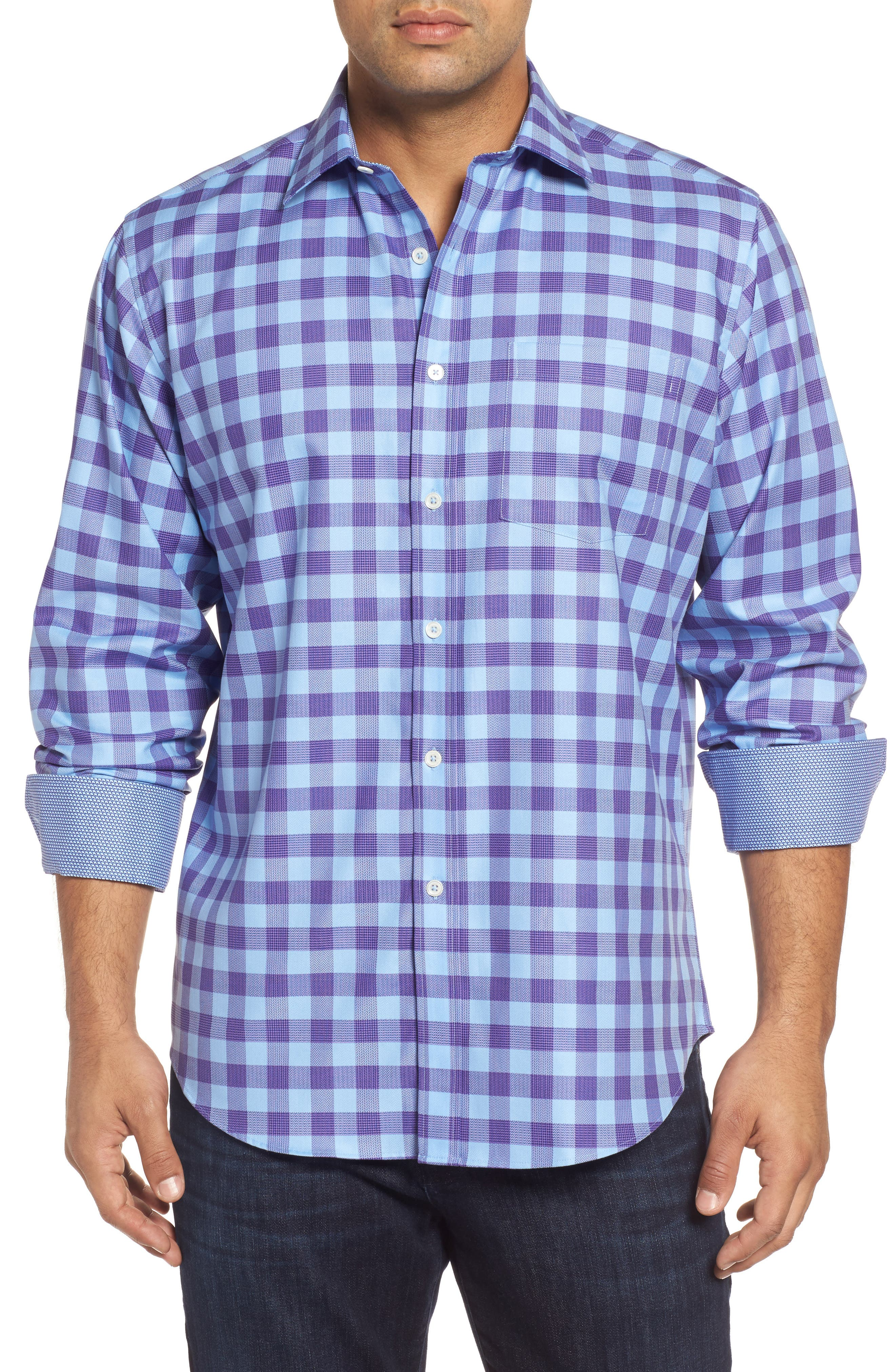 Classic Fit Woven Check Sport Shirt,                         Main,                         color, Orchid
