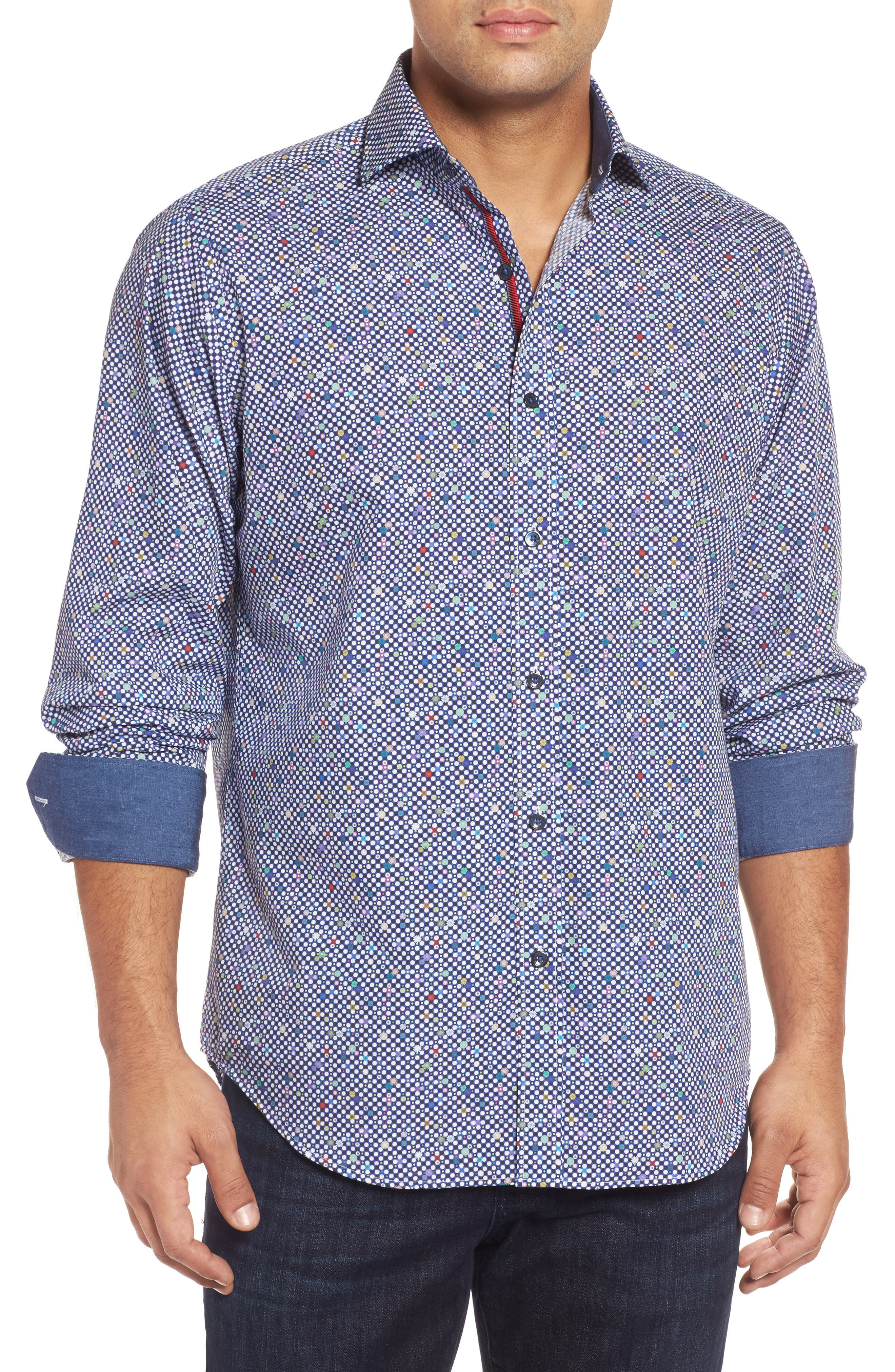 Classic Fit Dot Print Sport Shirt,                         Main,                         color, Navy