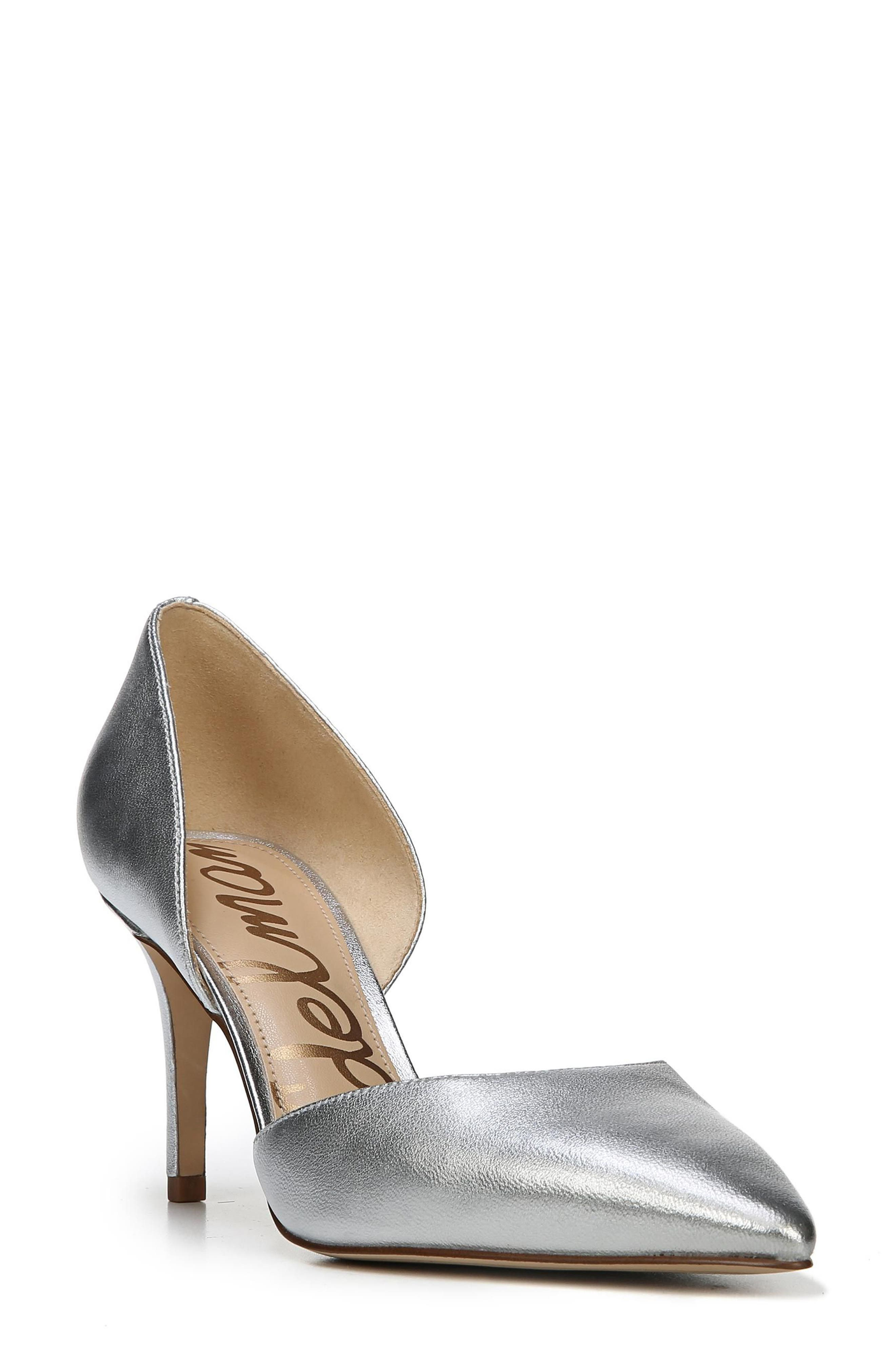 'Telsa' d'Orsay Pointy Toe Pump,                             Main thumbnail 1, color,                             Soft Silver Leather