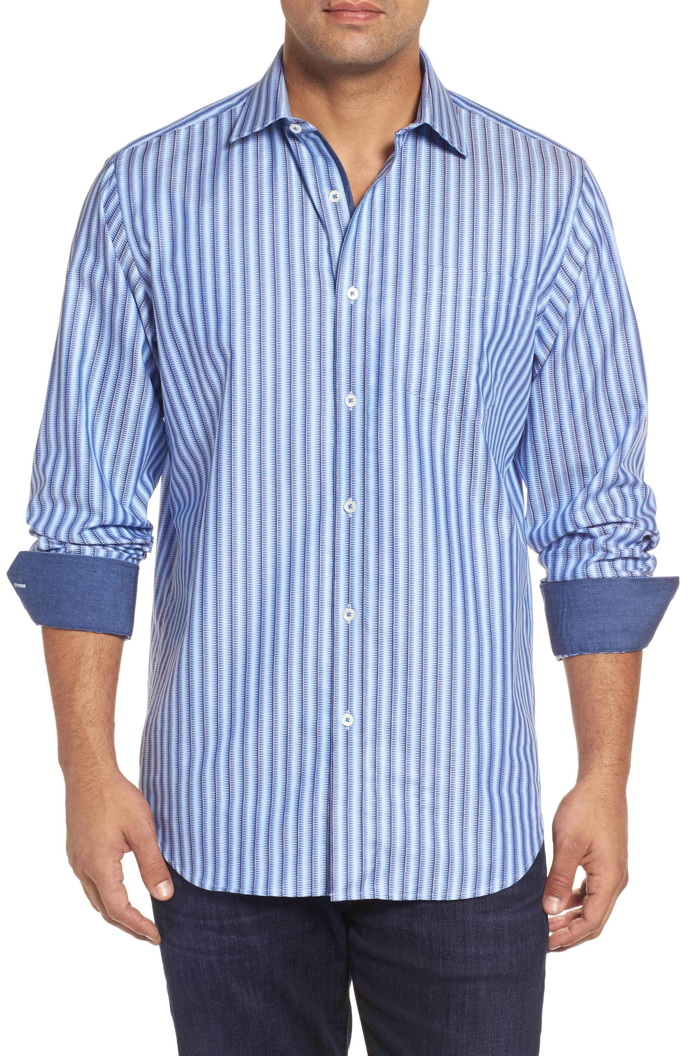 Classic Fit Striped Sport Shirt,                         Main,                         color, Air Blue