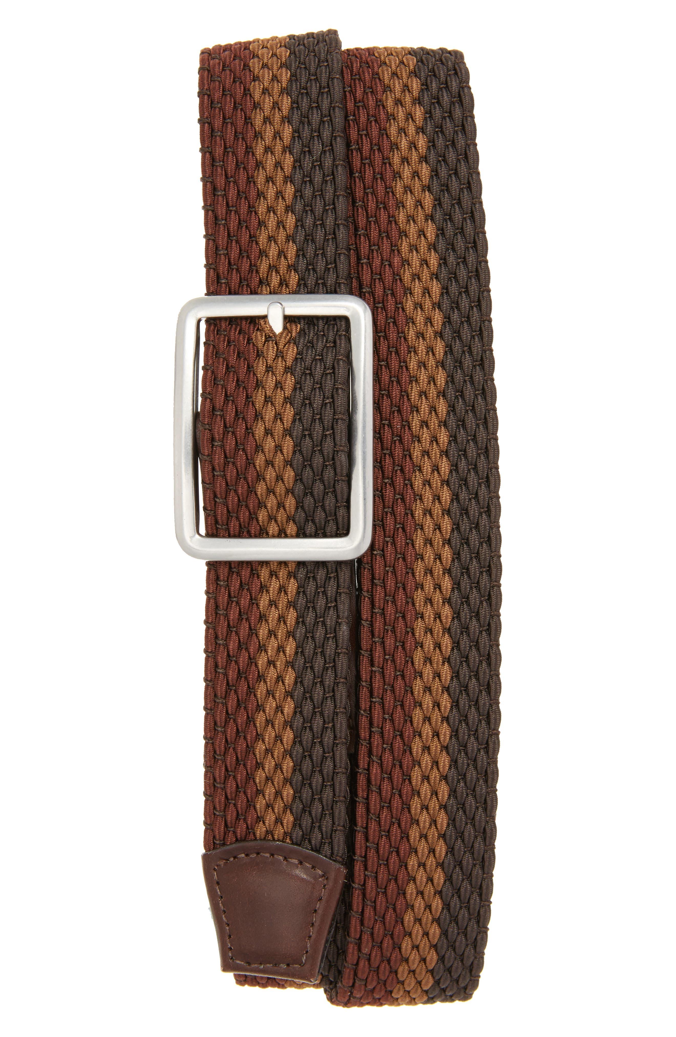 Tri Stripe Reversible Woven Belt,                             Main thumbnail 1, color,                             Espresso/ Cocoa/ Coffee