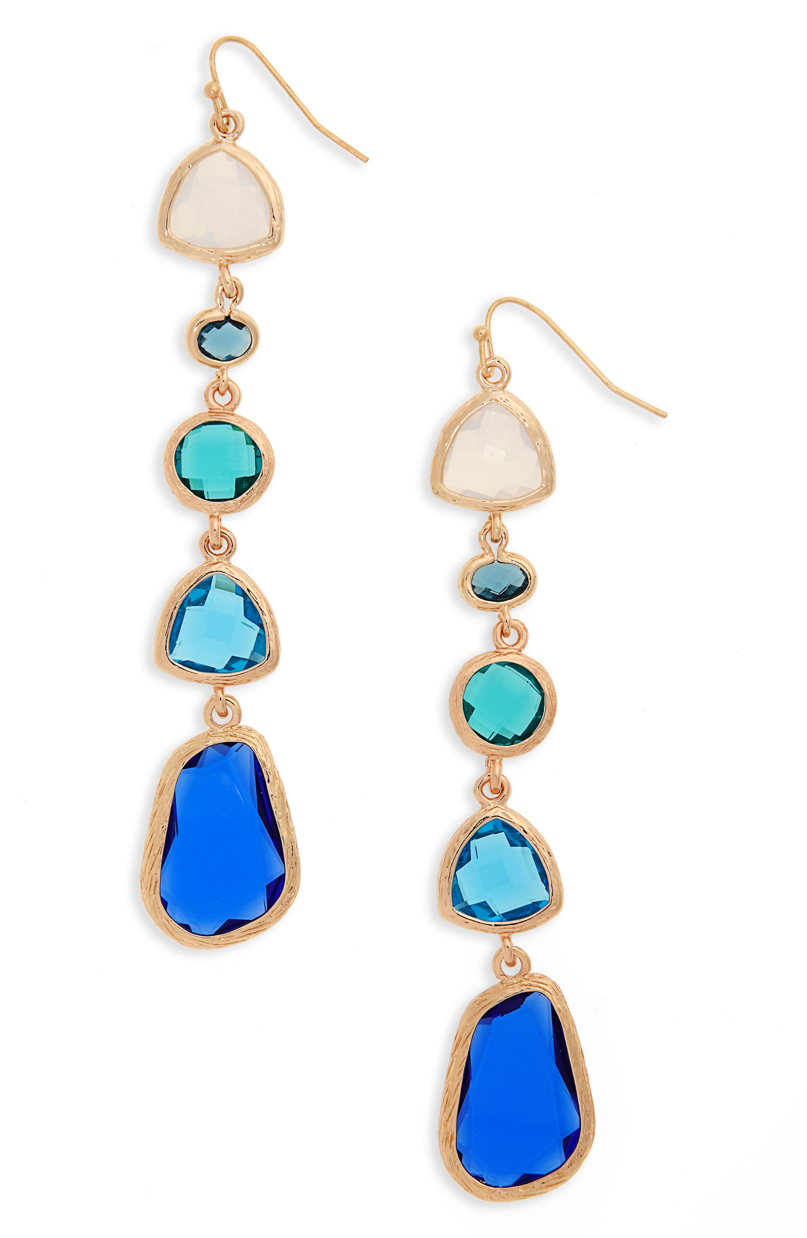 Drop Earrings,                         Main,                         color, Blue